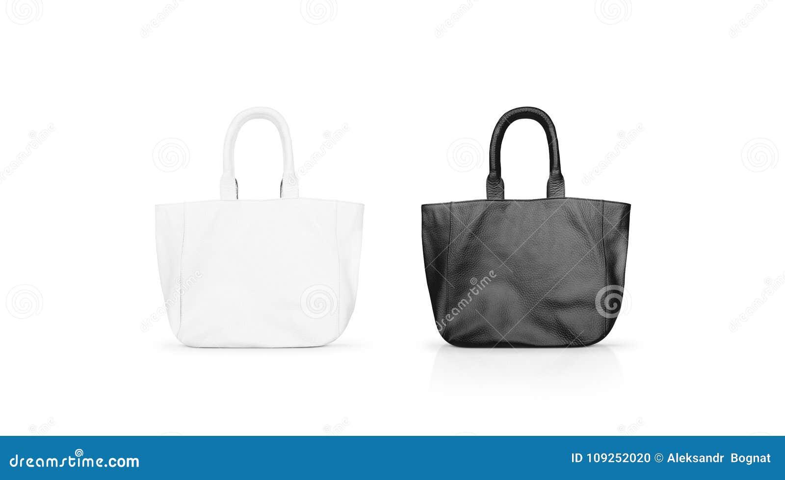 Derisione in bianco e nero in bianco della borsa di cuoio del ` s delle donne su isolata