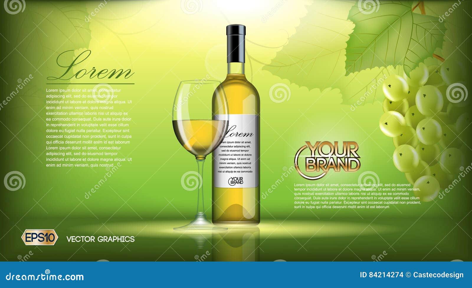 Derisione Realistica Della Bottiglia Di Vino Di Vettore Su Uva