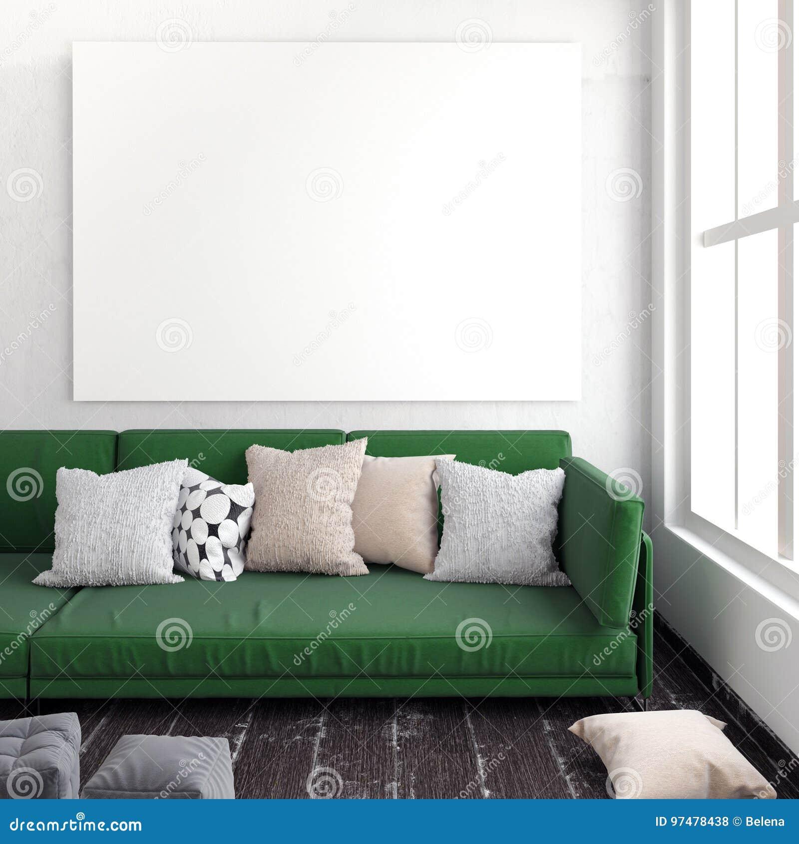 Derisione sul manifesto nell interno con il sofà Sofà e pranzo-vagone angolari nell interiore plac di riposo