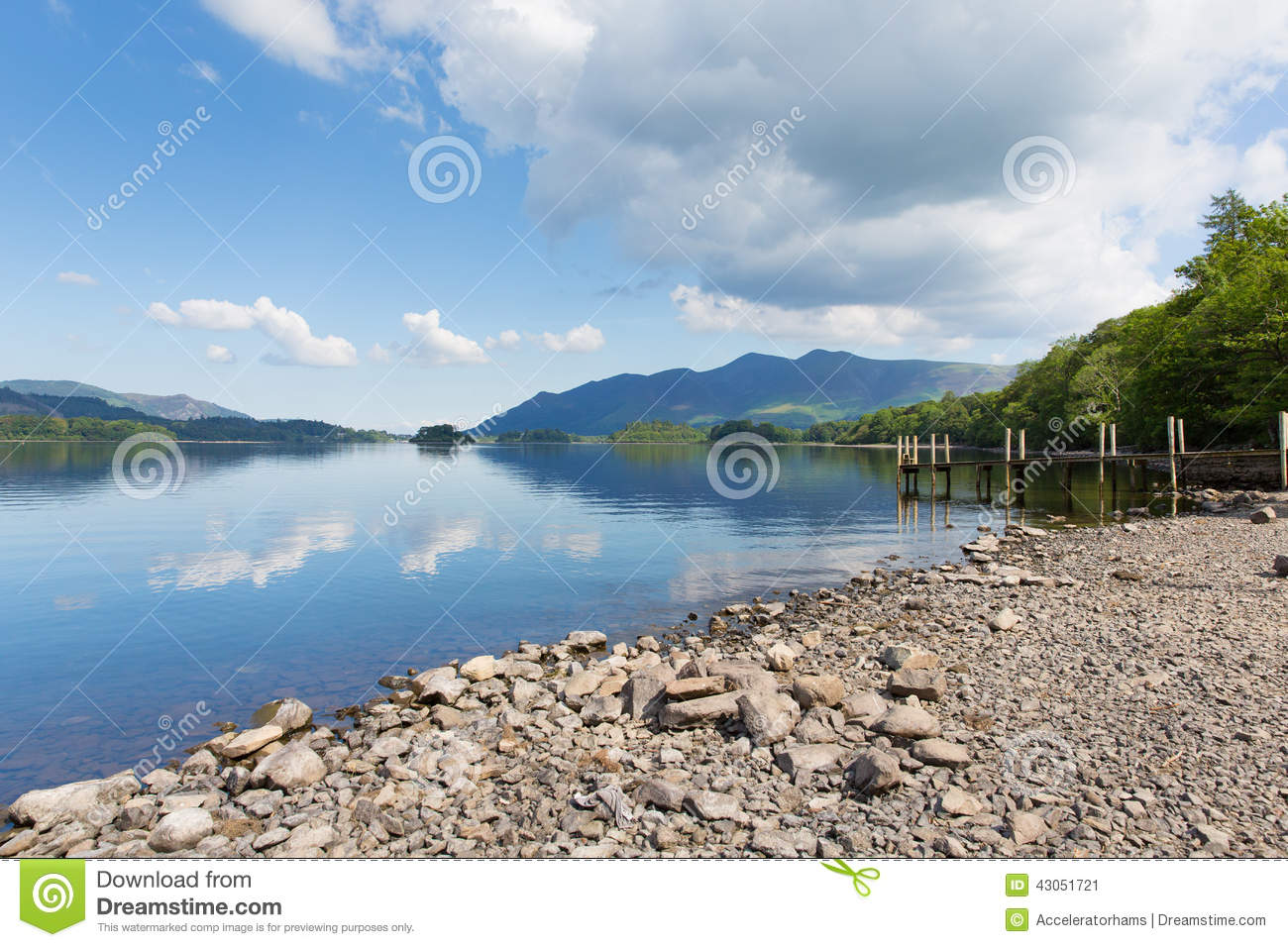 Derwent Water Lake District Cumbria England uk south of Keswick blue sky beautiful calm sunny summer day