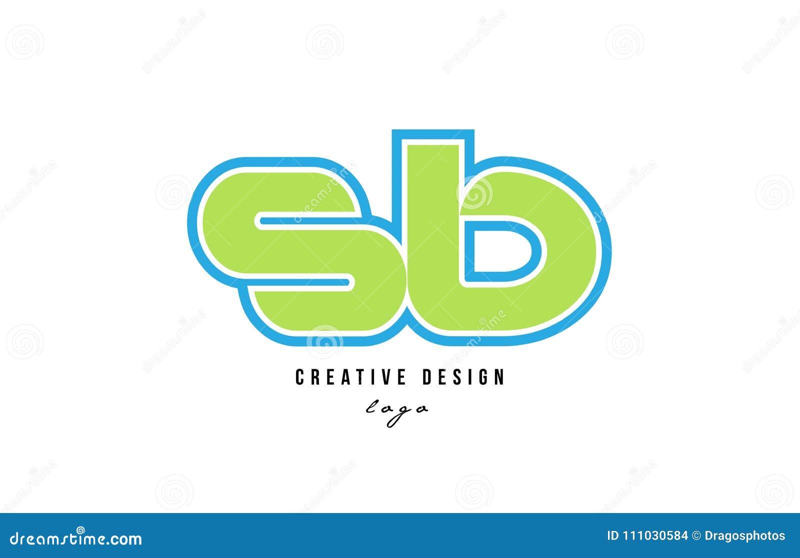 Des Alphabetbuchstabesb S B Des Blauen Grüns Logo Ikonendesign