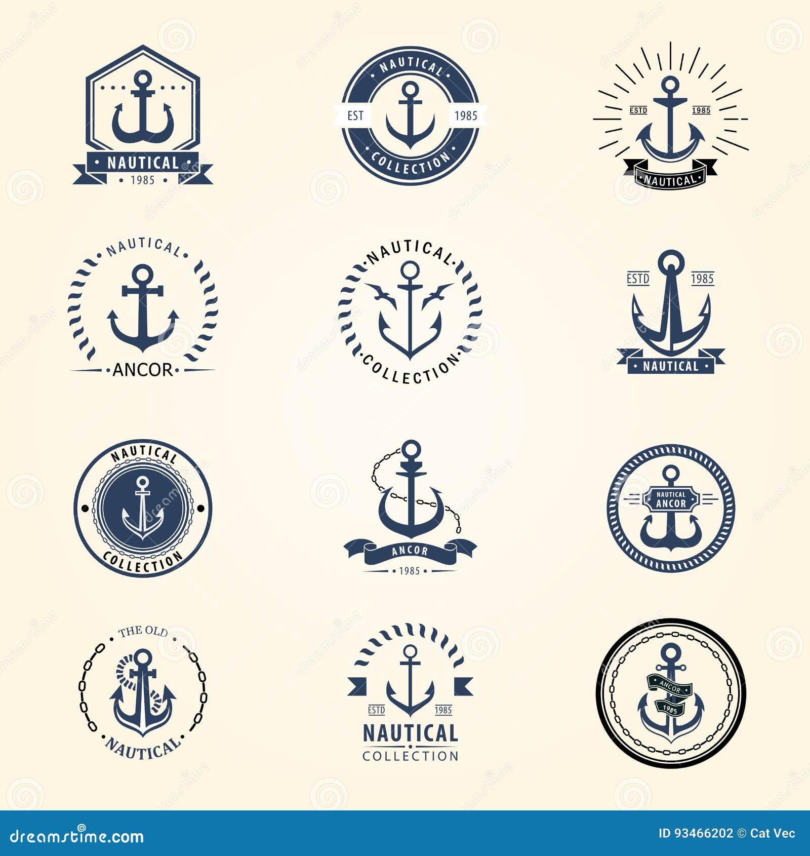 Des Ankerausweisvektorzeichenseeozeans der Weinlese Seemarinesymbolillustration des Retro- Elements grafischen