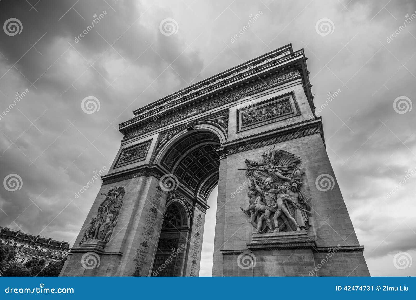 Des Arcs de Triomphe Paris Stadt Rückseite und Weiß herein