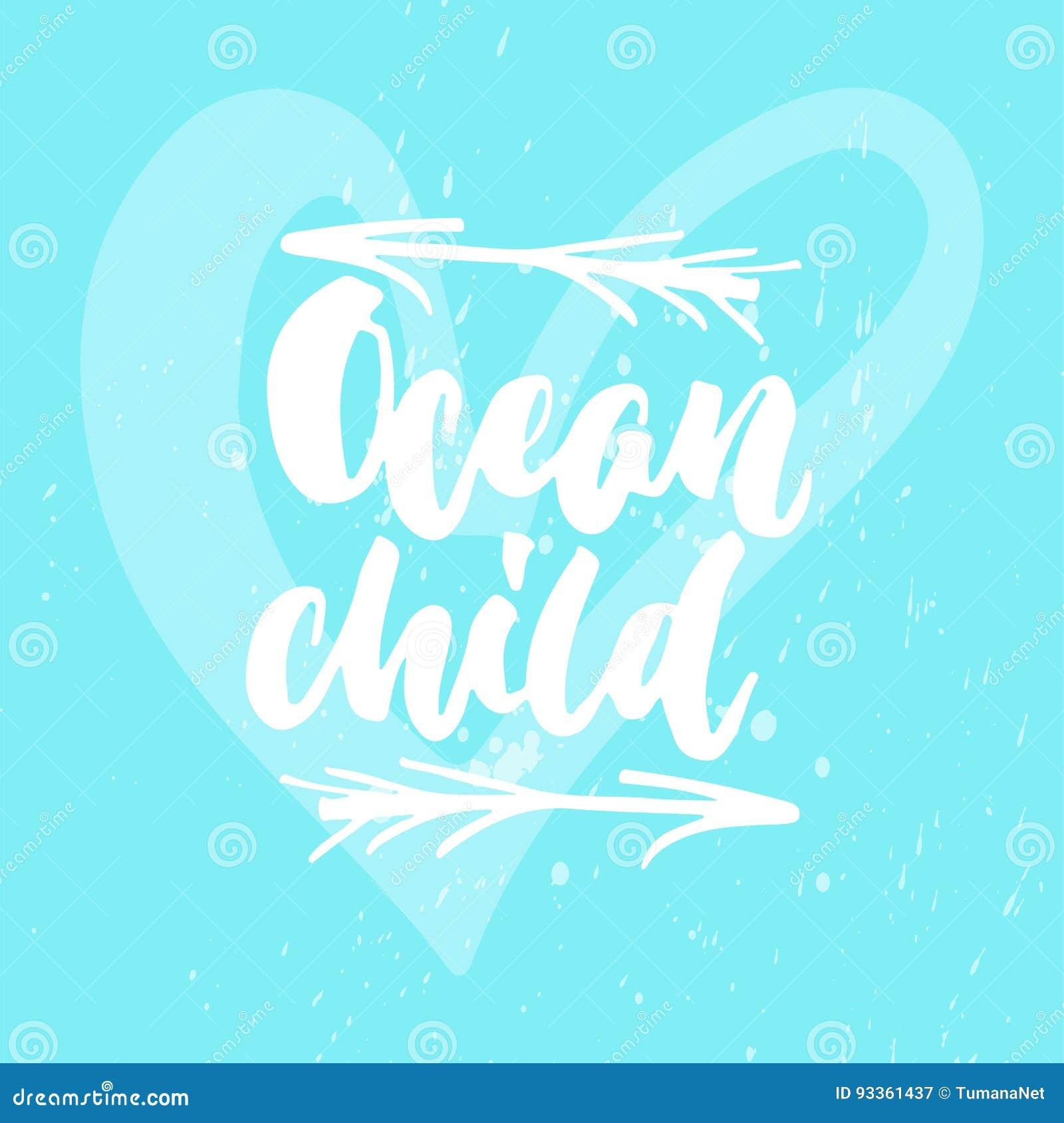 Des Beschriftungszitats Des Ozeans Kinder Hand Gezeichnete