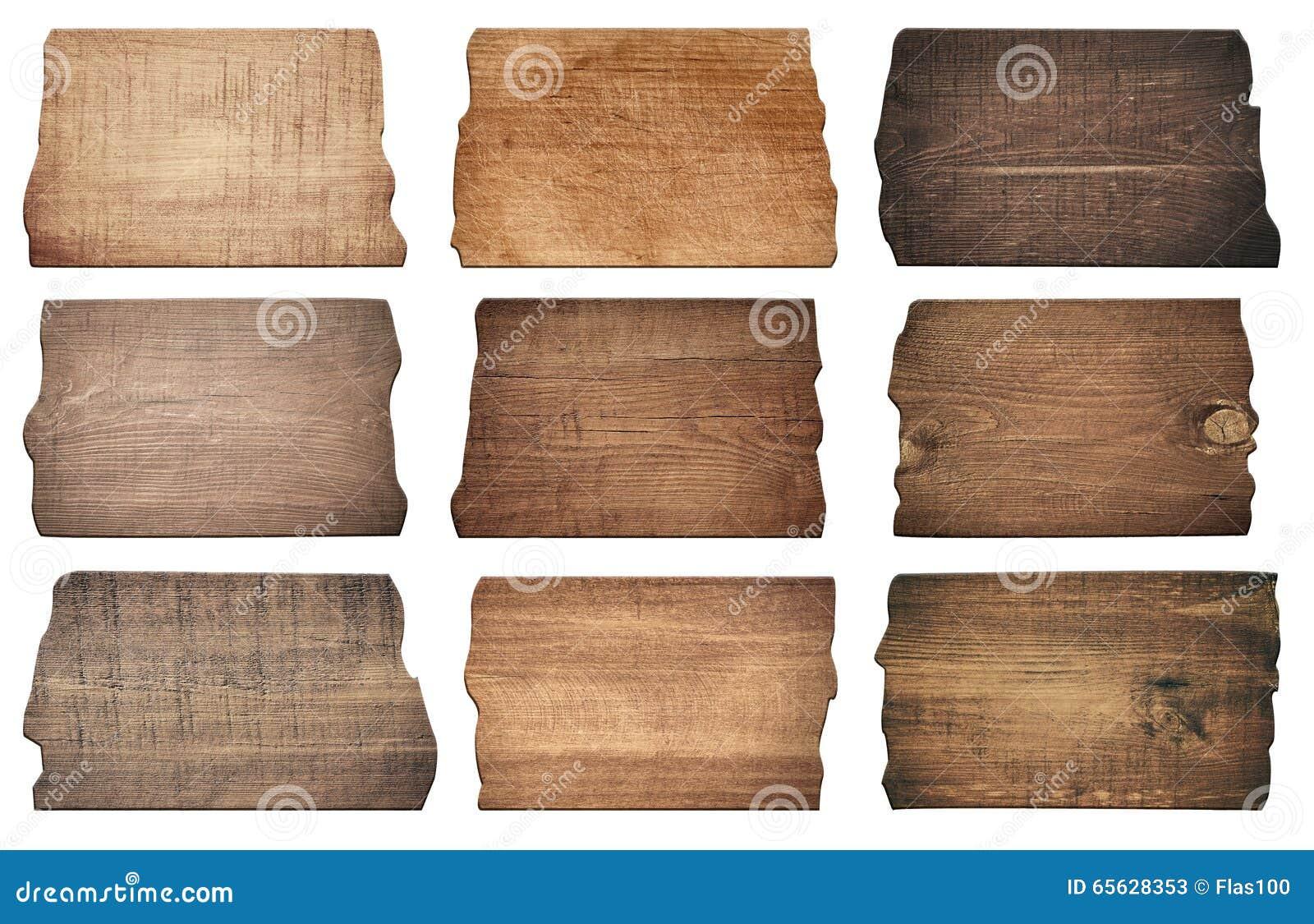 Des conseils en bois de Brown, enseigne, planches sont isolés sur le fond blanc