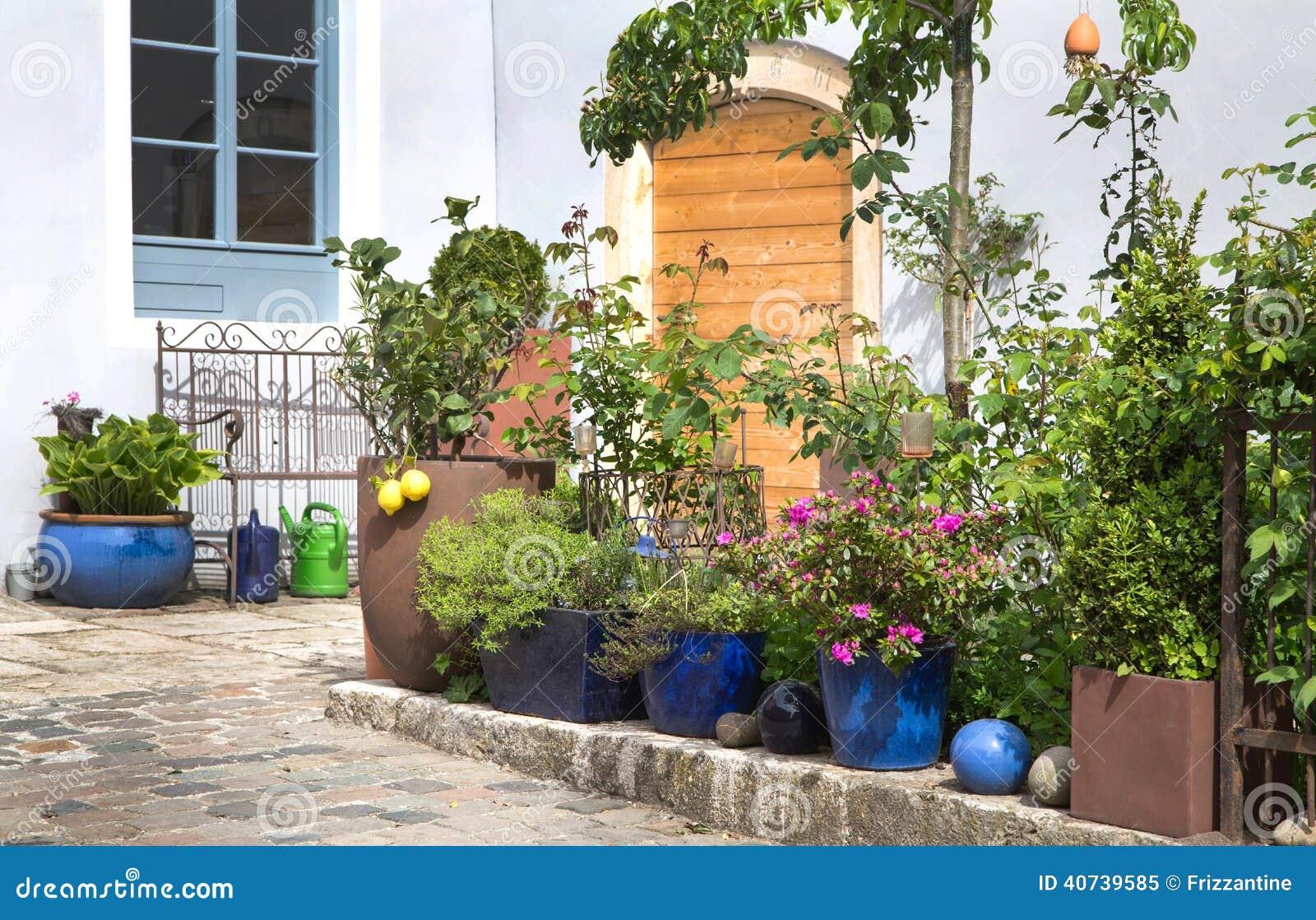 des fleurs dans des pots de terre cuite faites du. Black Bedroom Furniture Sets. Home Design Ideas