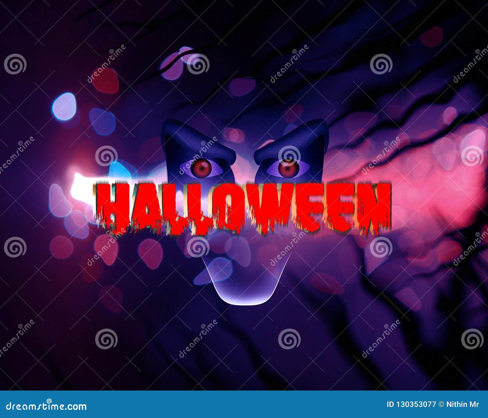 Des furchtsamen blaue Zusammenfassung Illustrations-Gesichtes Halloweens dar