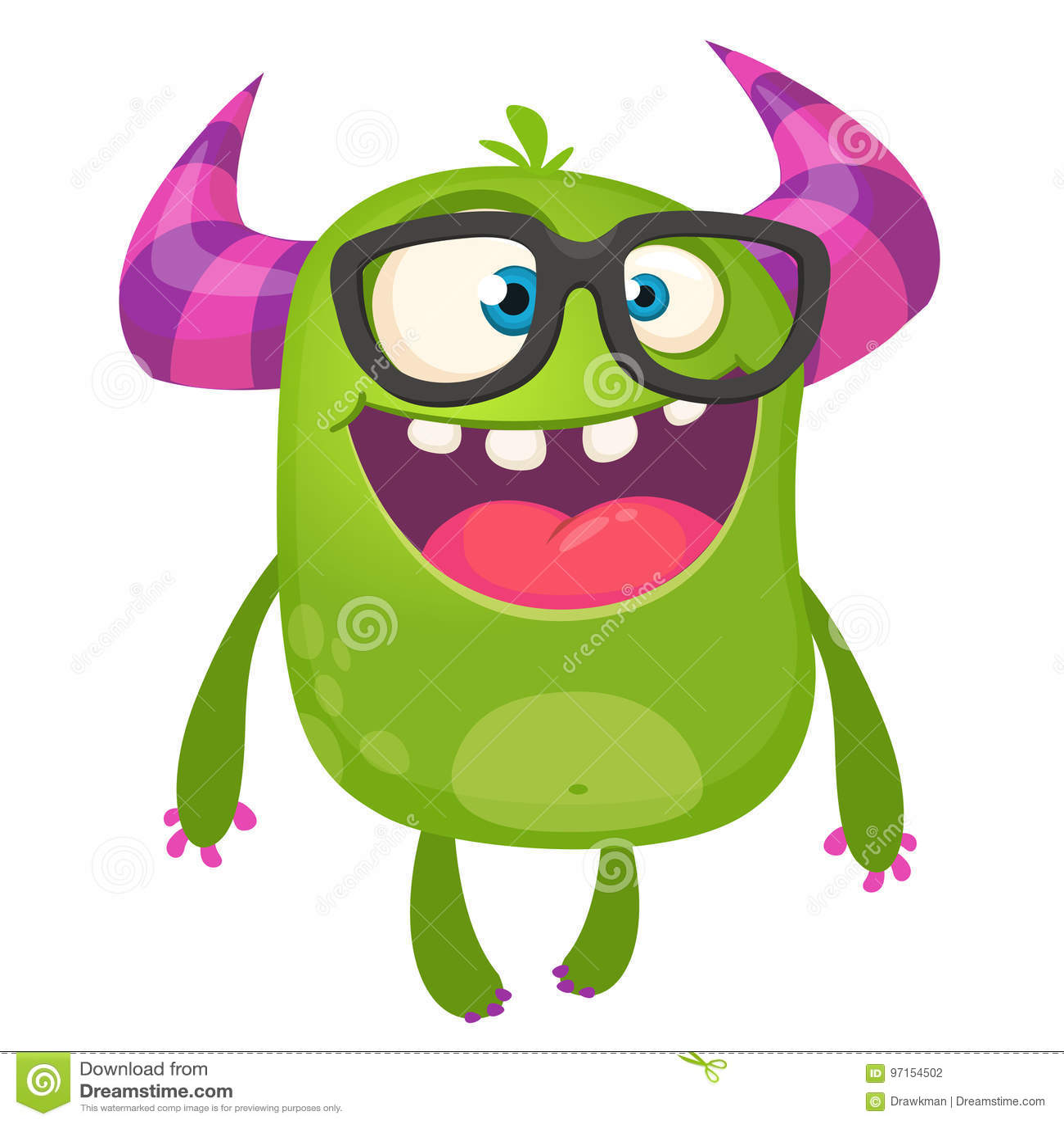 Des grünen tragende Gläser Monster-Sonderlings der Karikatur Vektorabbildung getrennt