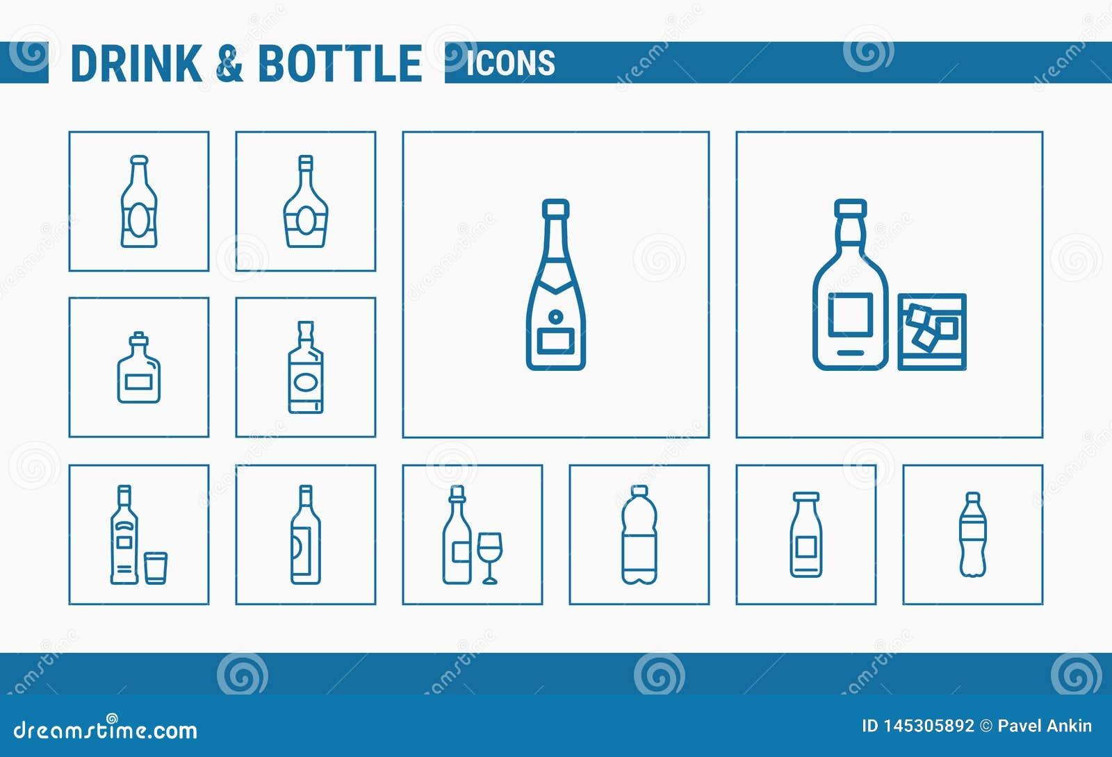 Des icônes de boissons et de bouteille - placez le Web et le mobile 01