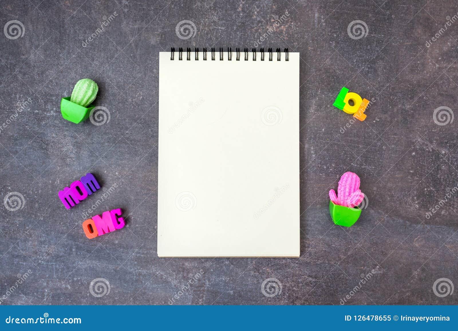Des Modell-freien Raumes der Hippie-Jugend kühles Notizbuch mit Spielzeugkakteen und w