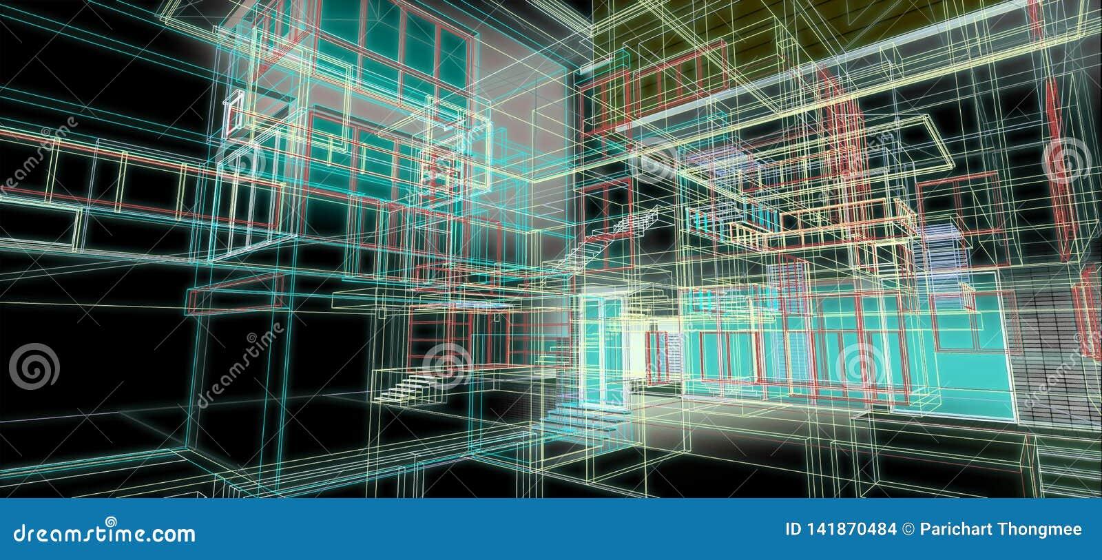Des Perspektivendrahtrahmens des ArchitekturKonzeptes des Entwurfes 3d bunte Wiedergabe mit etwas materiellem schwarzem Hintergru