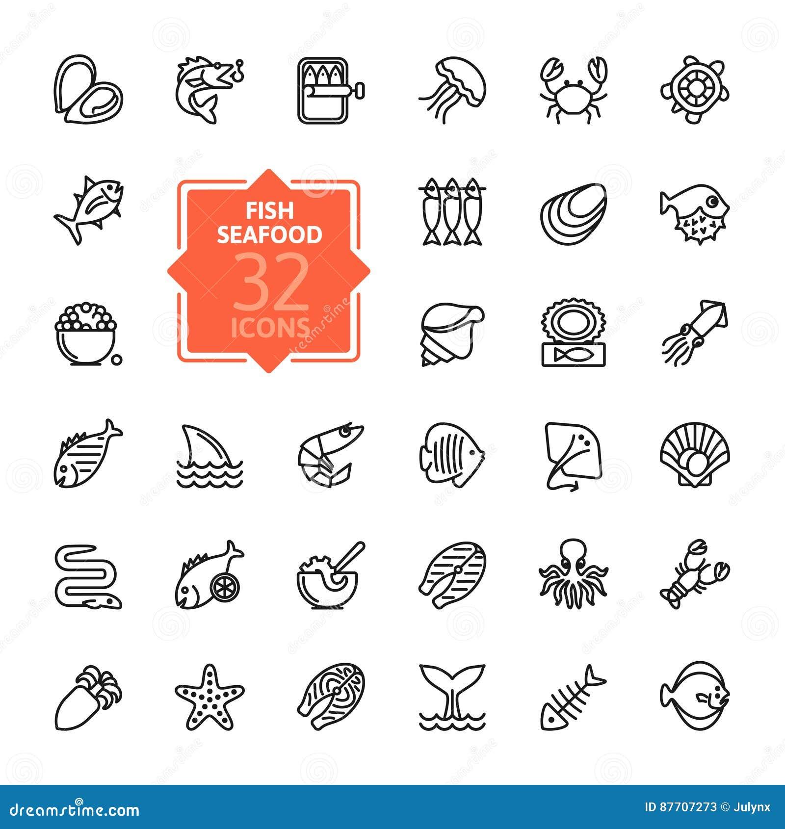 Des poissons et des fruits de mer - décrivez la collection d icône, vecteur