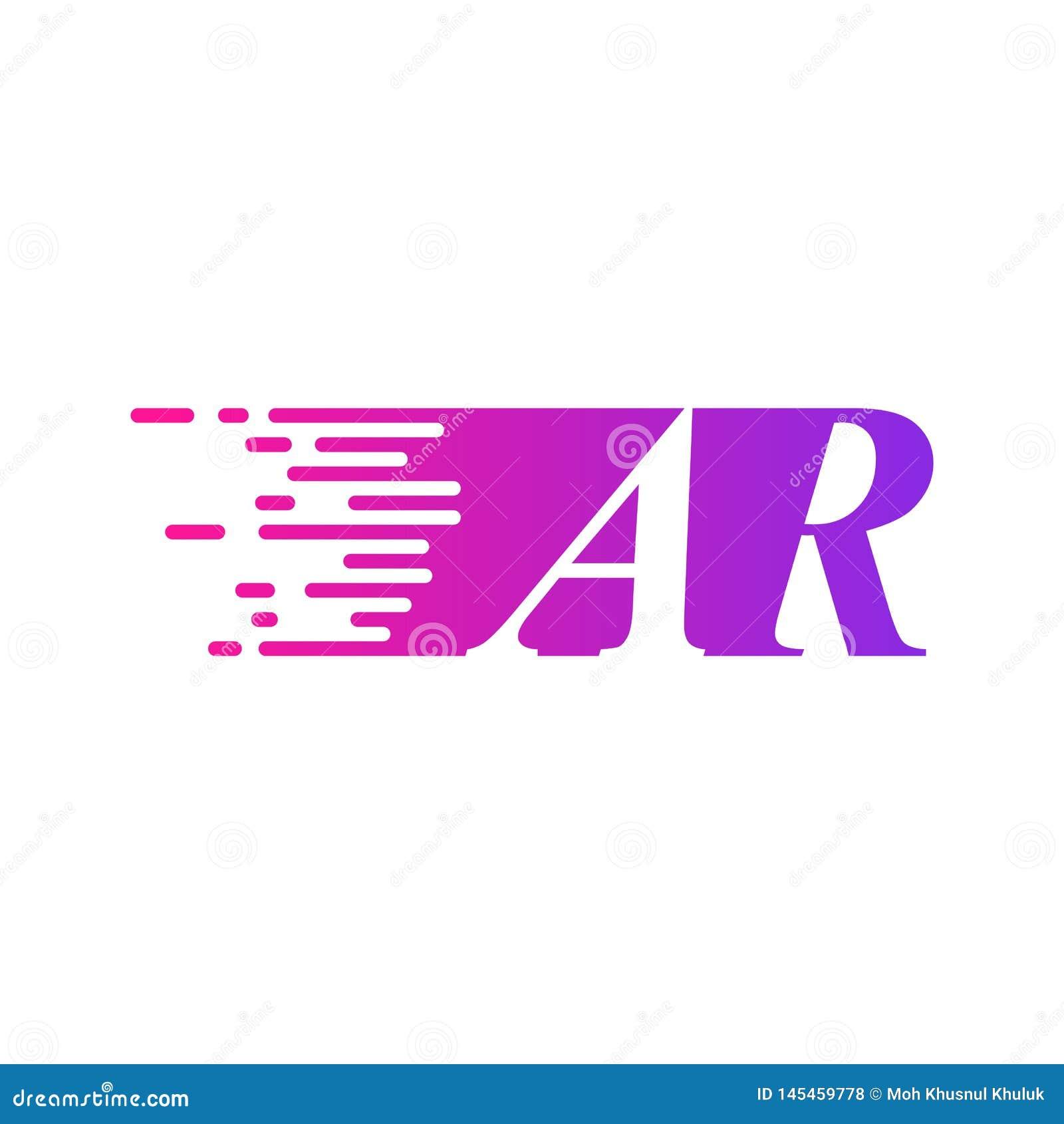 Des sich schnell bewegenden purpurrote rosa Farbe Logo-Vektors Anfangsbuchstabe AR