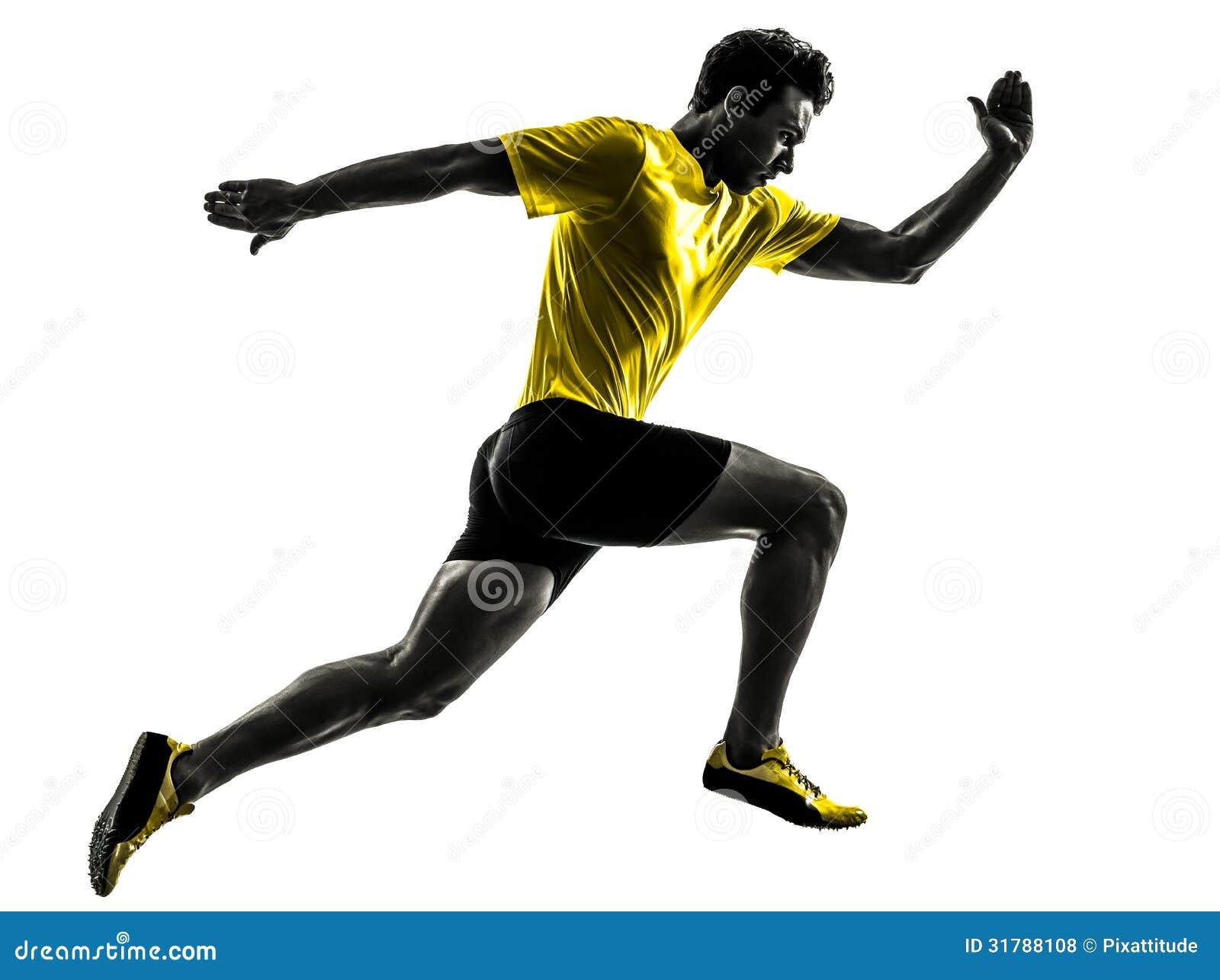 Des Sprinterläufers des jungen Mannes laufendes Schattenbild