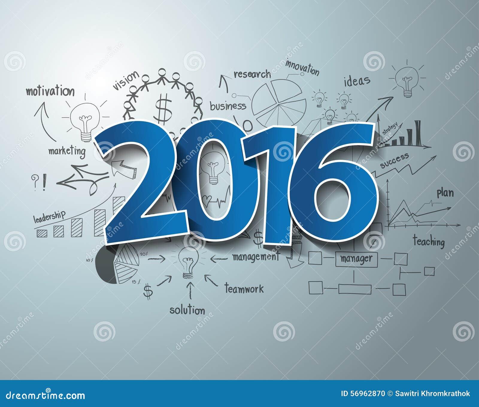 Des Tagaufklebers 2016 des Vektors blaues Textdesign auf GeschäftserfolgStrategieplan