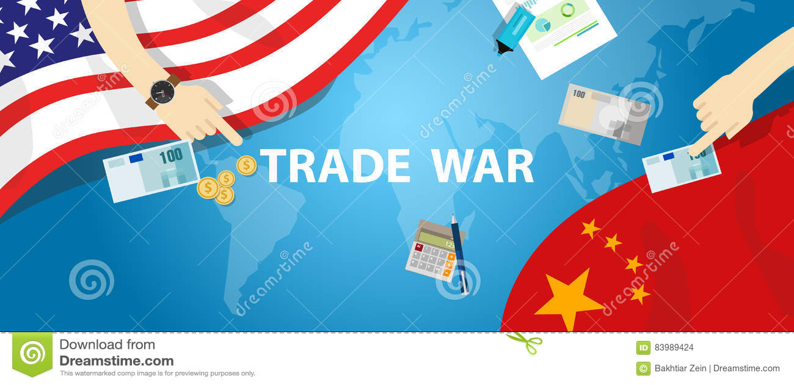 Des Tarifgeschäfts Handelskonflikt-Amerikas China globaler International Austausch