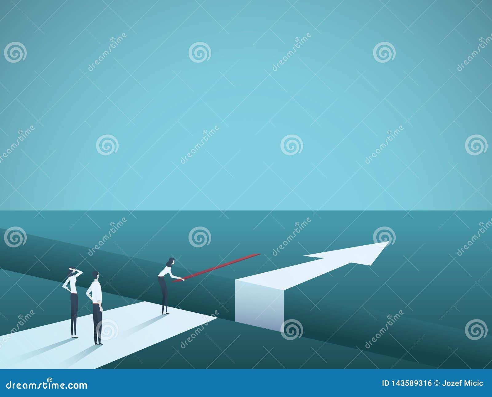 Desafio do negócio superado e que encontra o conceito do vetor das soluções Ponte da construção da mulher sobre a diferença Símbo