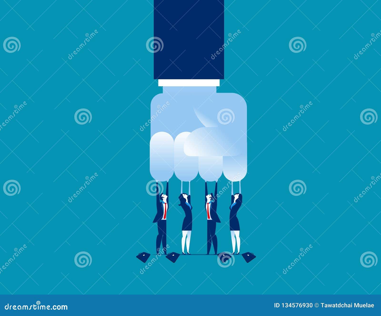 Desafio Grande negócio pequeno do desafio Ilustração do vetor do negócio do conceito