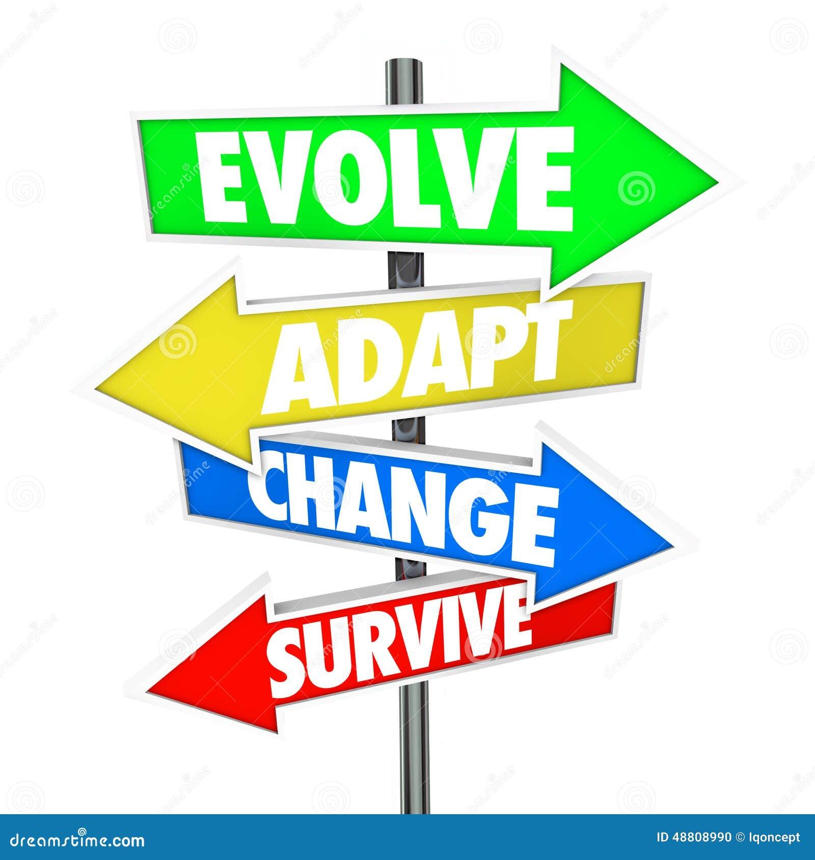 Desarróllese adaptan el cambio sobreviven el autobús de la adaptación de la evolución de las muestras de la flecha