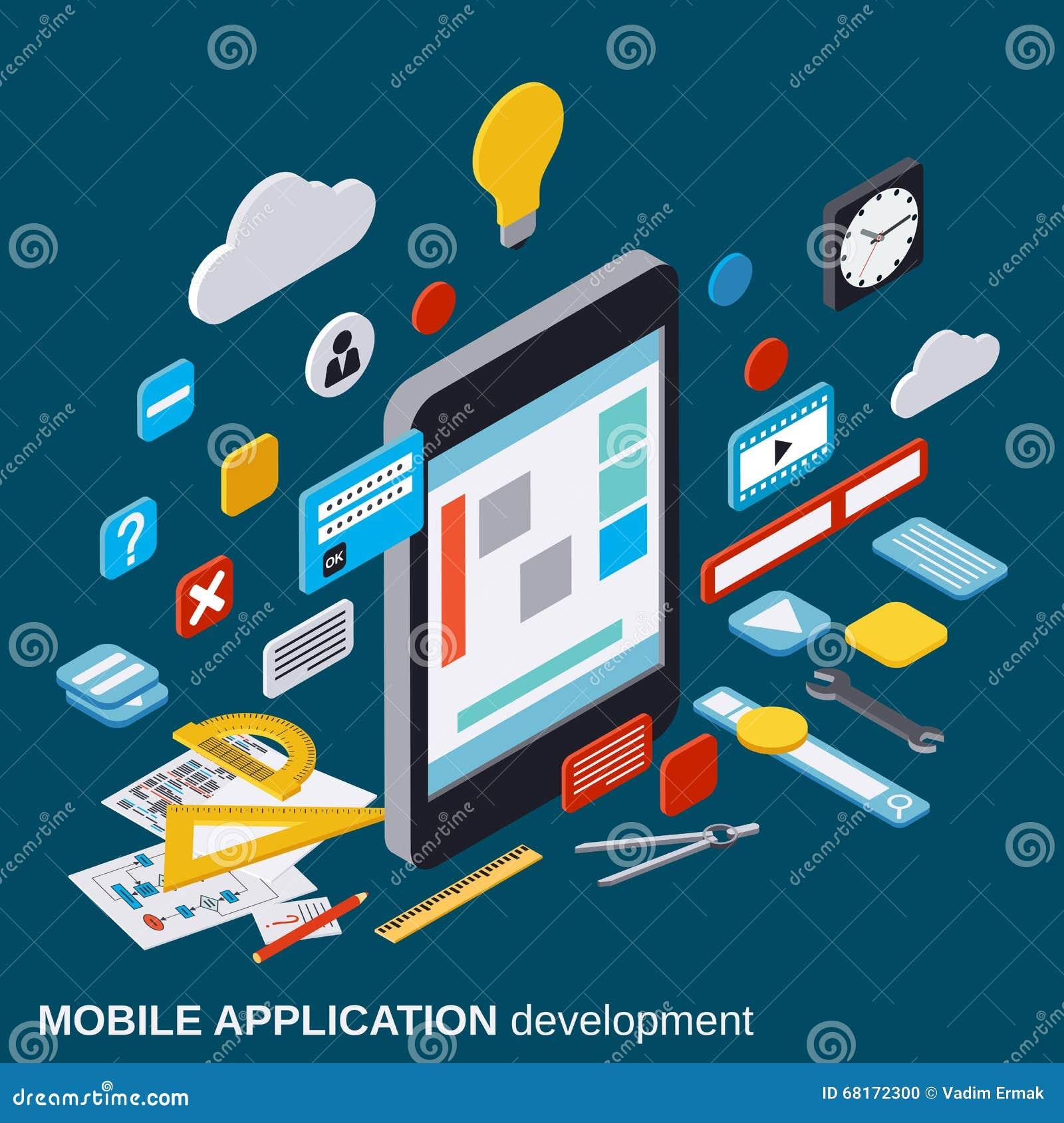 Desarrollo de aplicación móvil, proceso de SEO, concepto del vector de la optimización del algoritmo