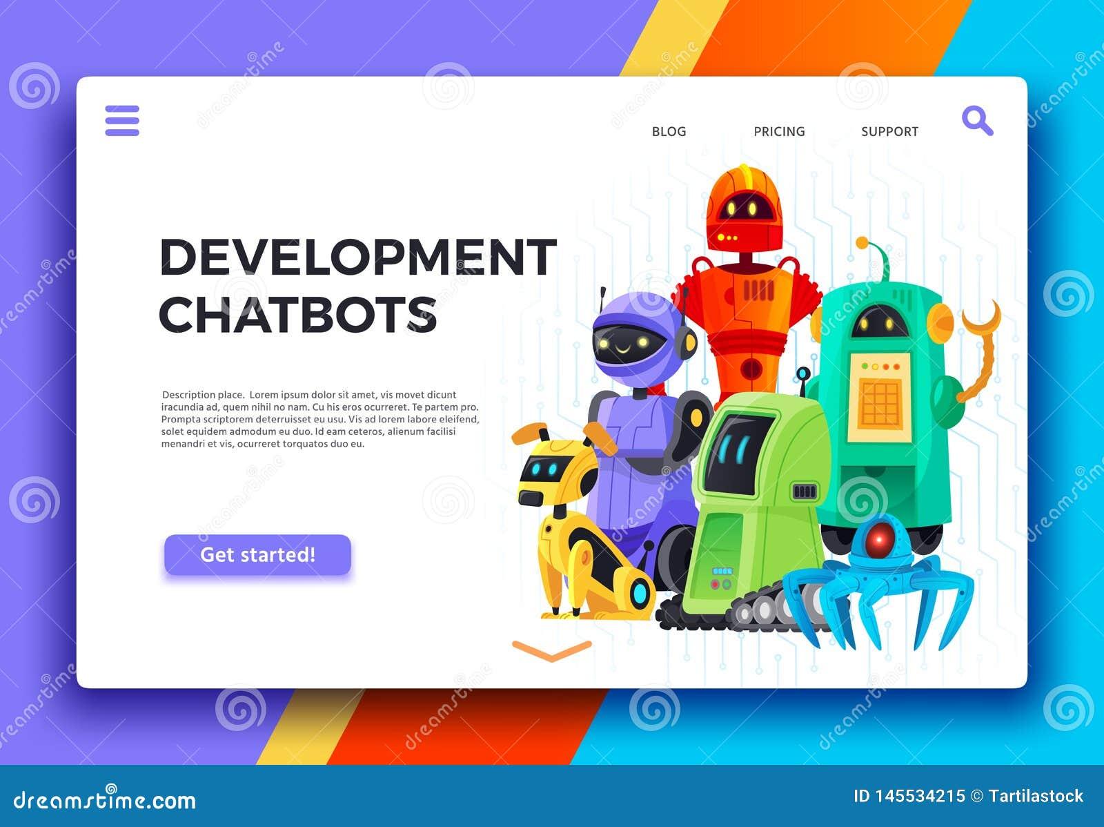 Desarrollo de Chatbots Ayudante del chatbot de Digitaces, robots amistosos y vector de la historieta de la página del aterrizaje