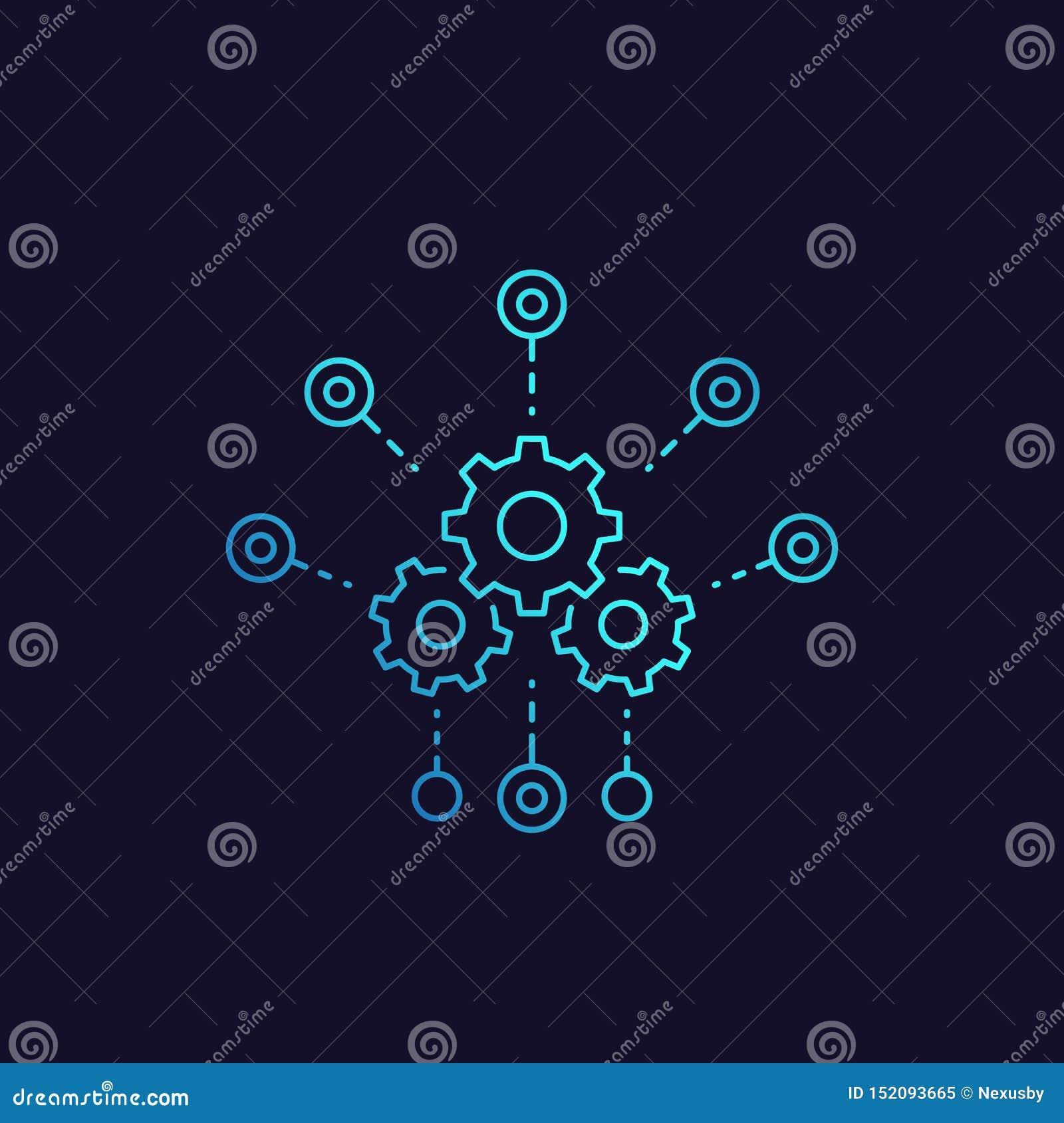 Desarrollo, icono del vector de la integración de software