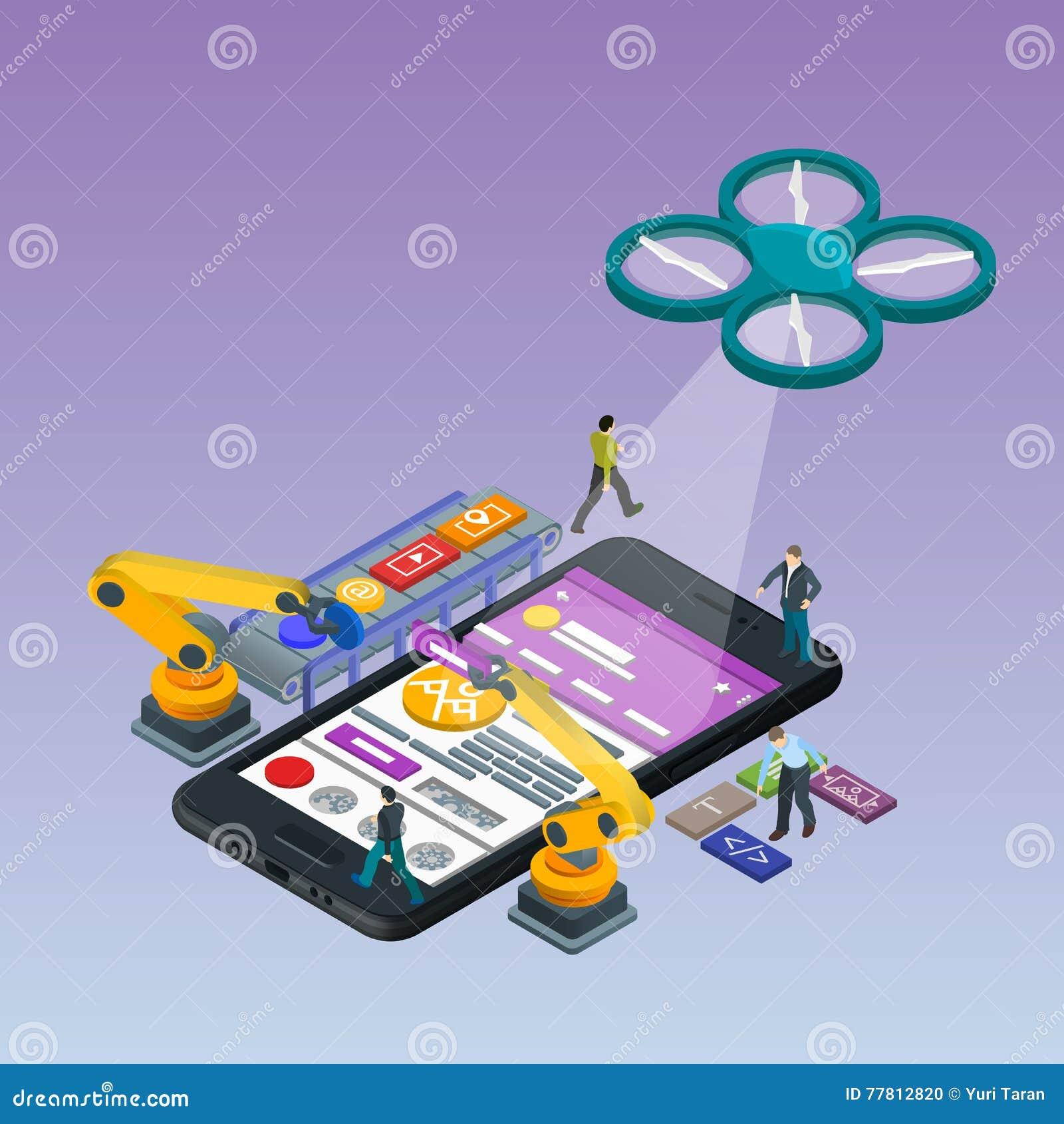 Desarrollo móvil del App, equipo experimentado Teléfono negro isométrico plano 3d Gestión y gestión del proyecto