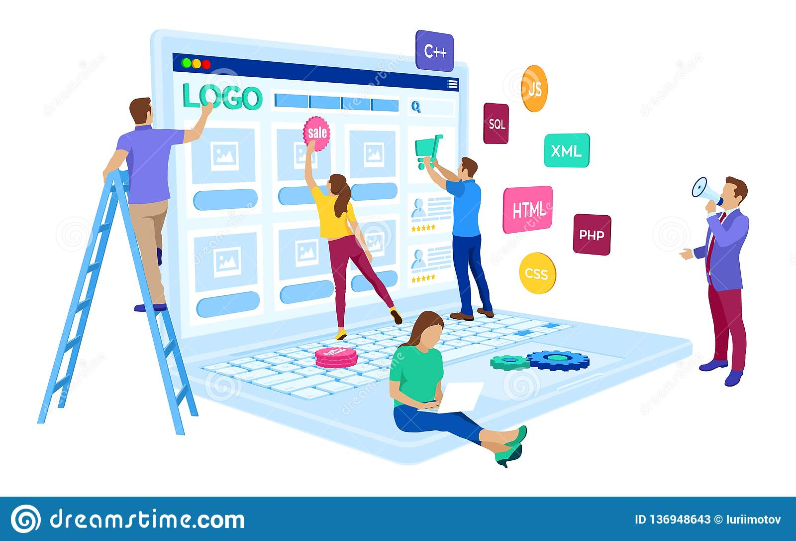 Desarrollo web El equipo de proyecto de ingenieros para el sitio web crea Edificio de la página web Diseño de UI UX Caracteres en