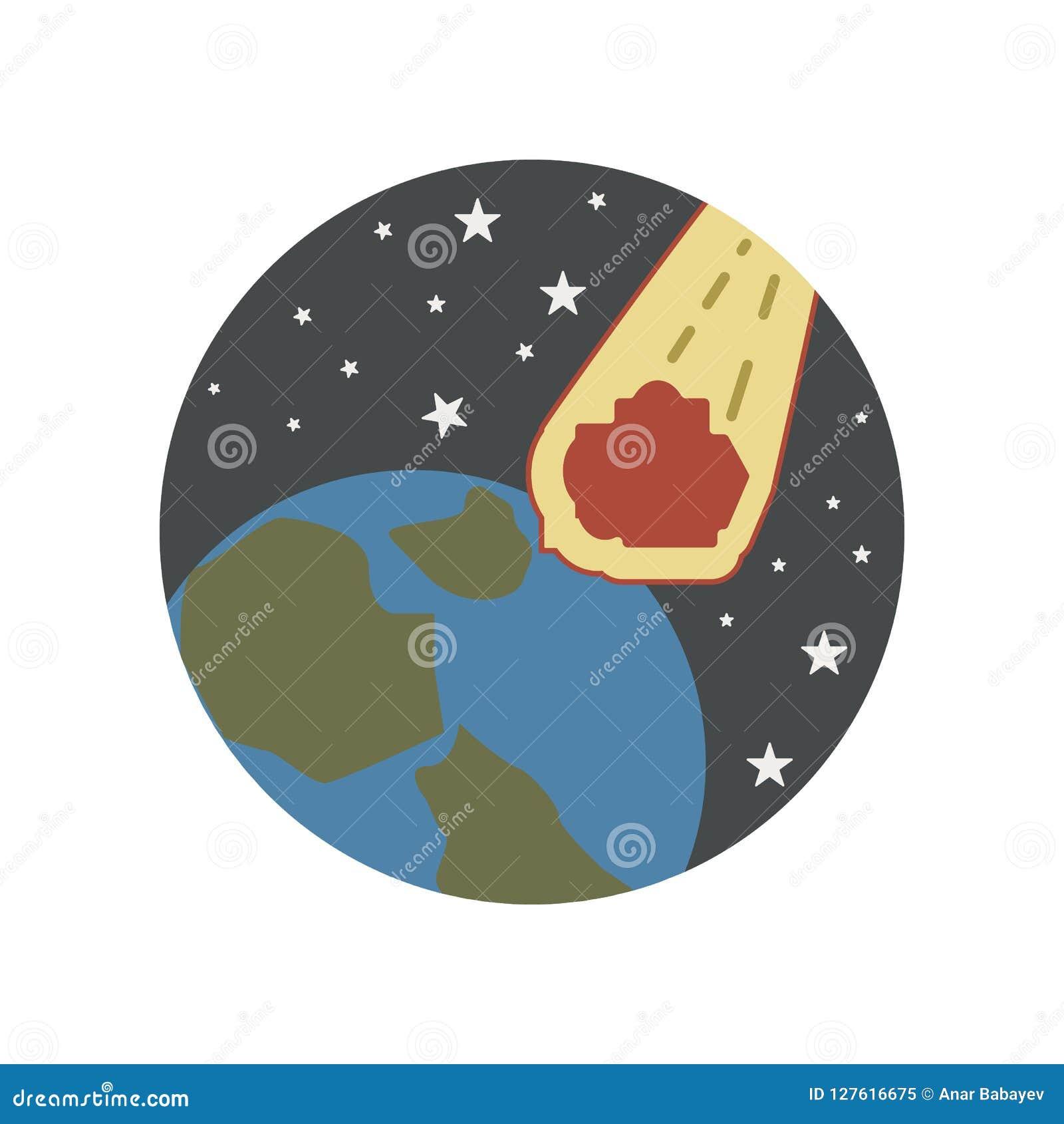 Desastre, caindo, meteoro, estrelas, ícone da cor do mundo Elemento da ilustração do aquecimento global Sinais e ícone da coleção