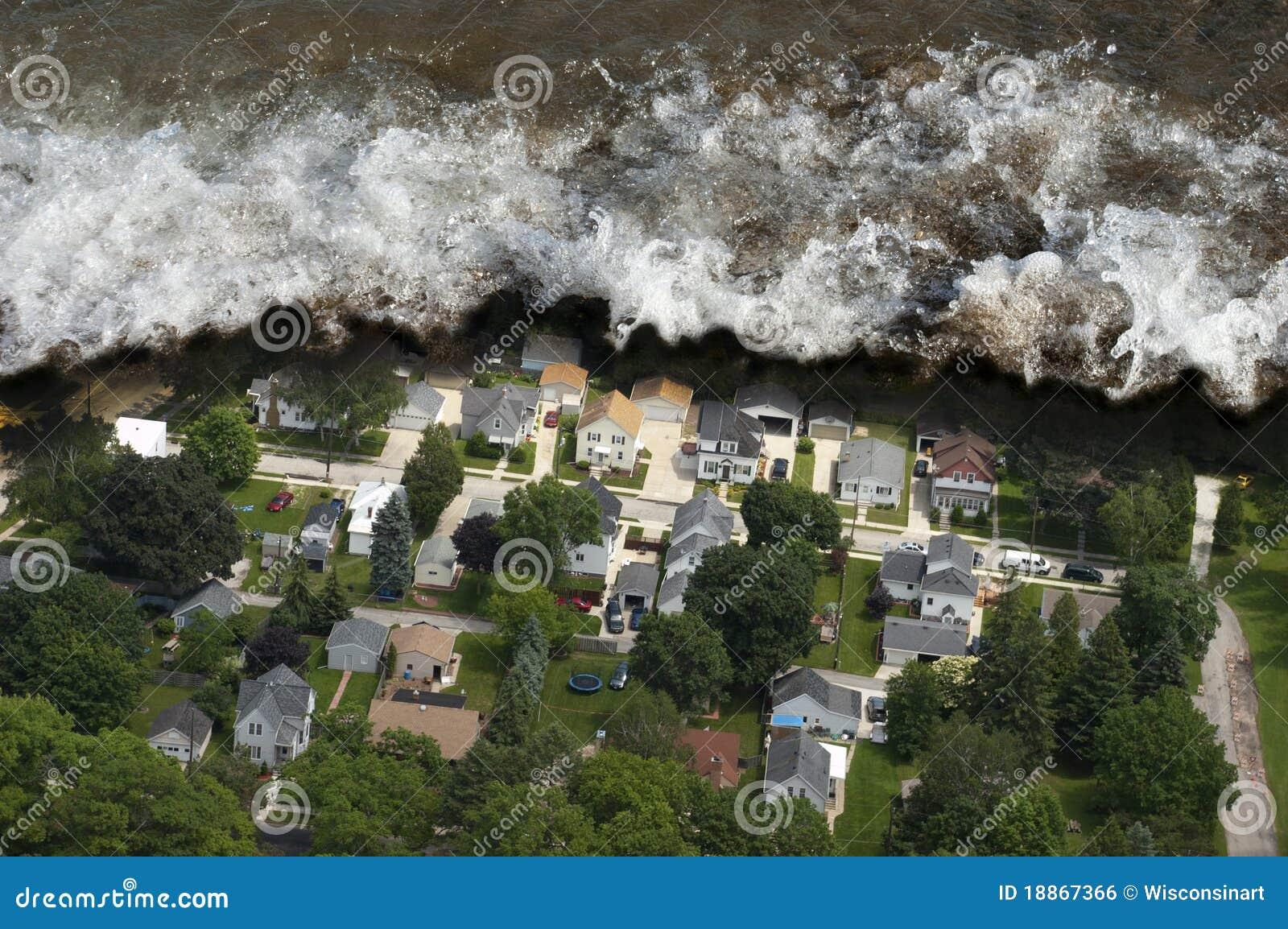 Desastre natural gigante de la onda de marea del tsunami