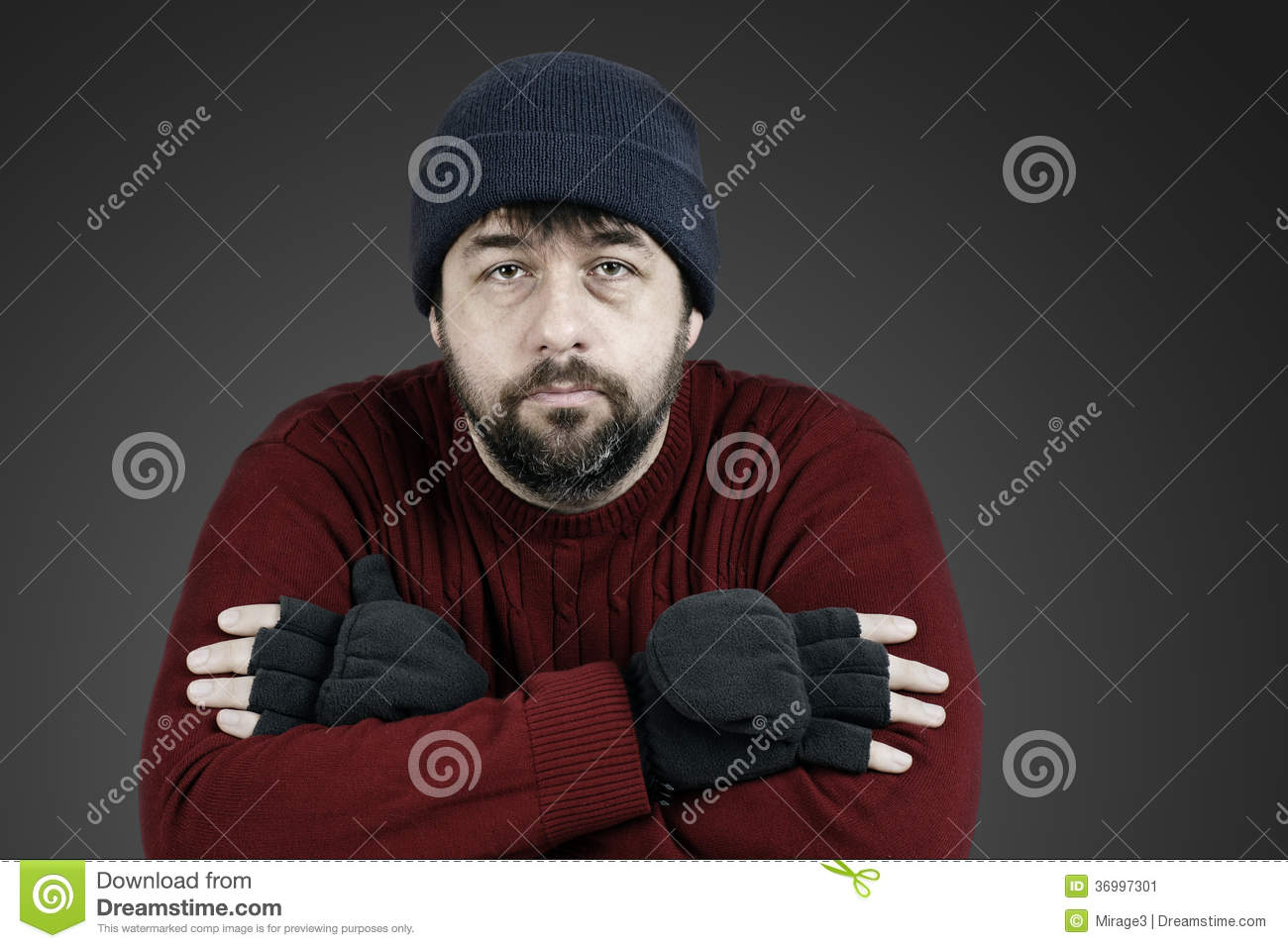 Desaturated homeless man with hat