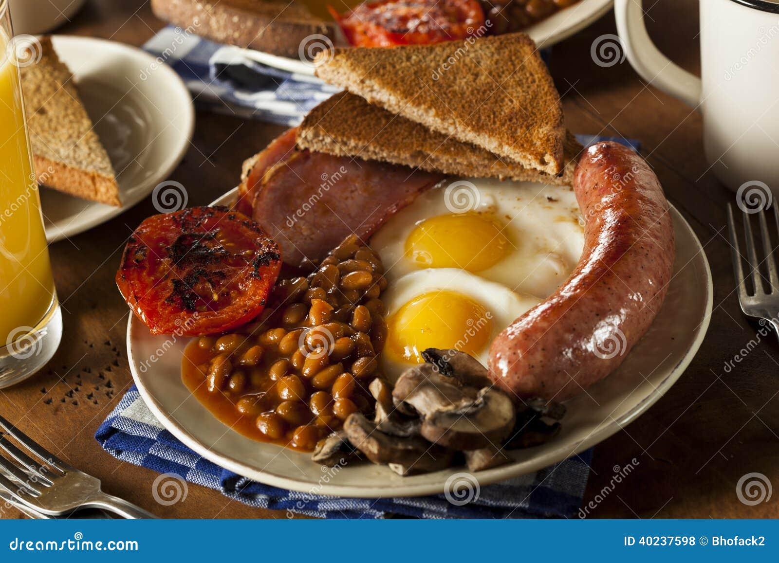 Desayuno inglés lleno tradicional