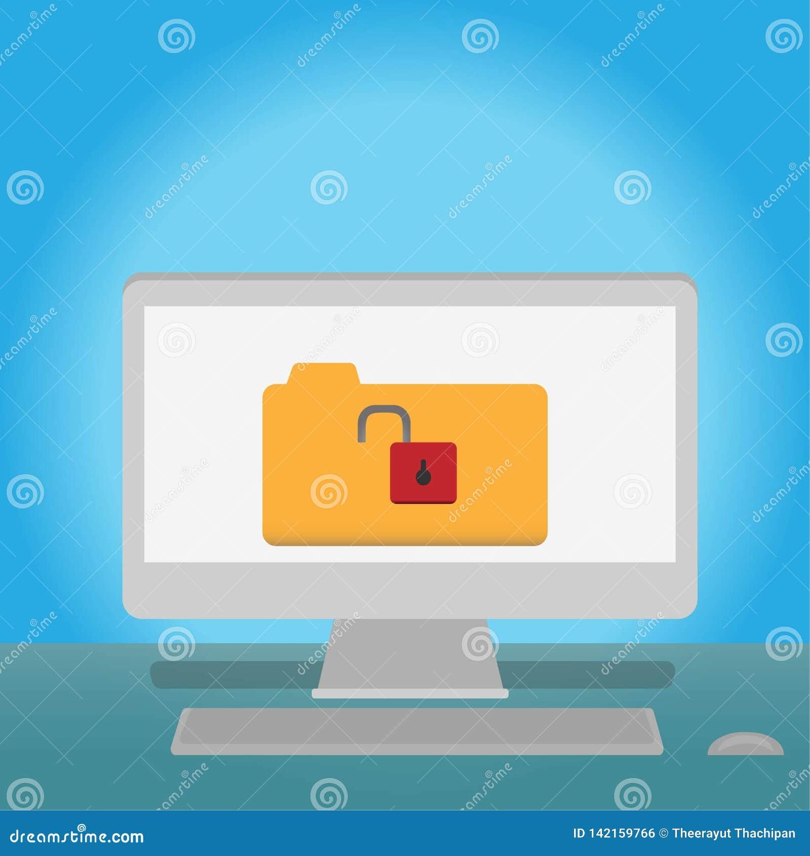 Desbloquee el archivo de datos en el ordenador concepto en línea de Internet de los medios sociales