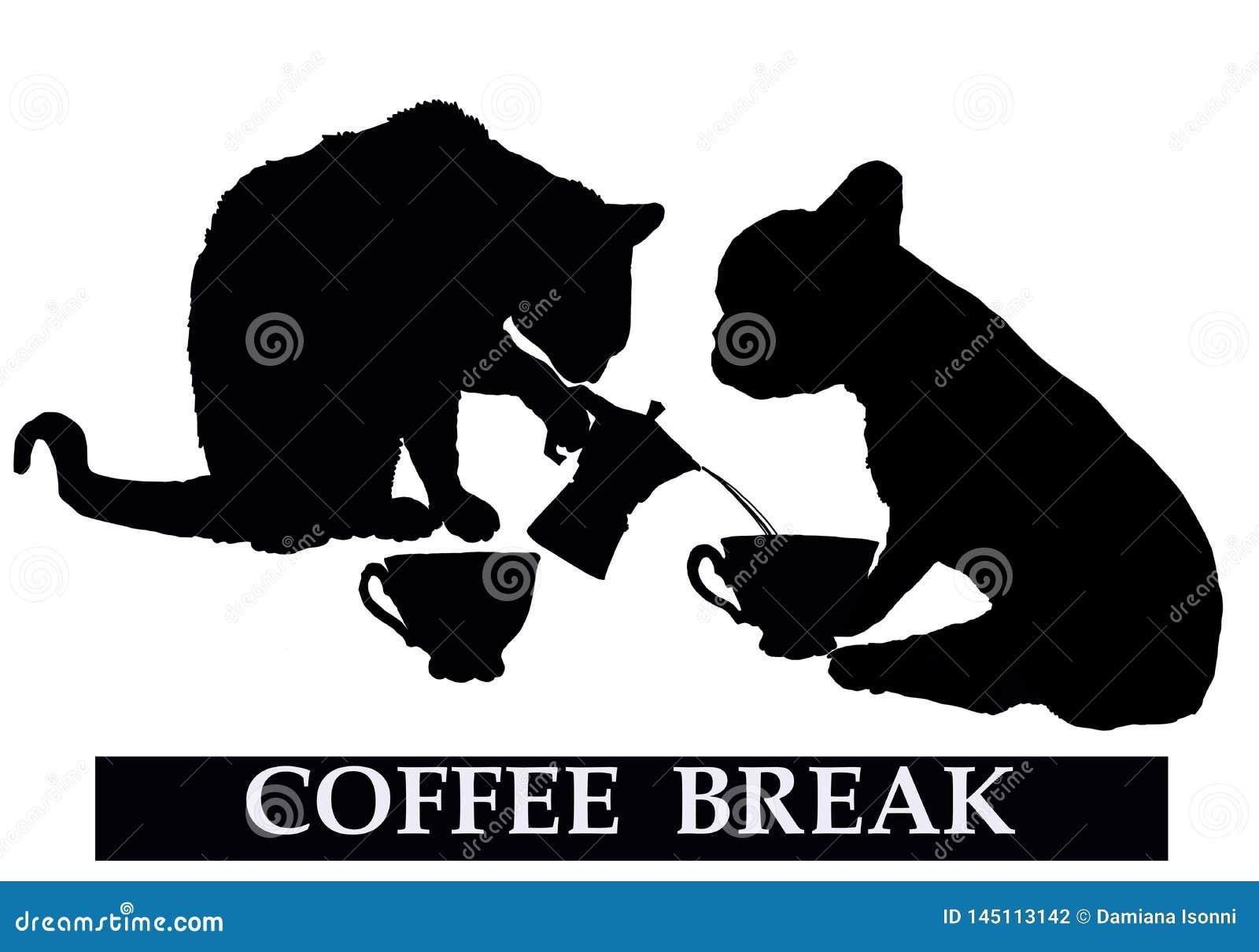 Descanso para tomar café con el gato y el perro