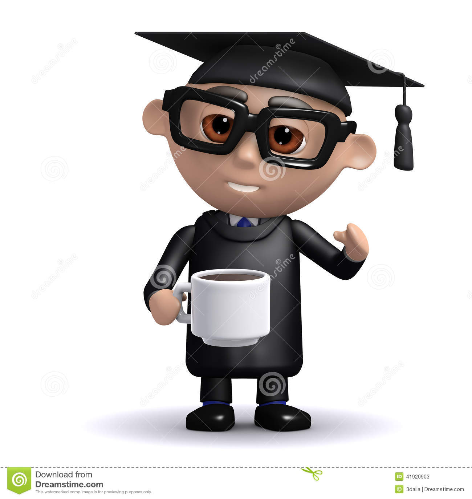 Descanso para tomar café del graduado 3d