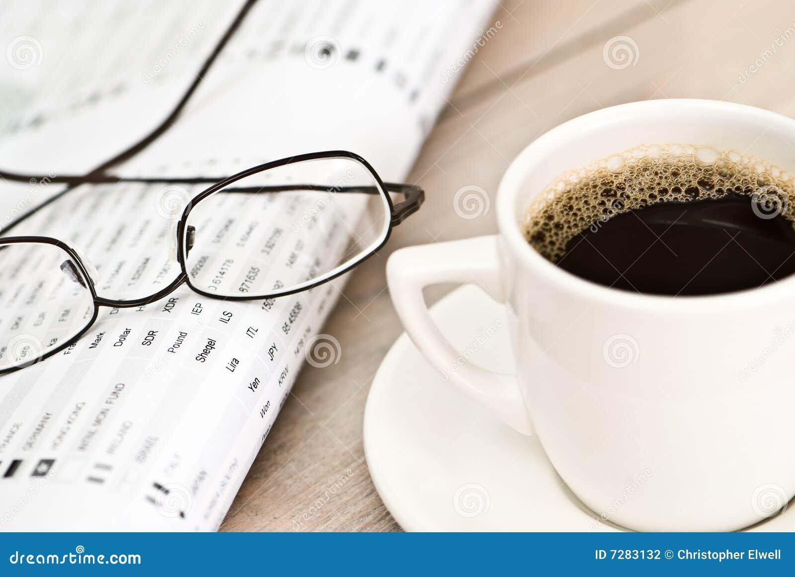 Descanso para tomar café financiero