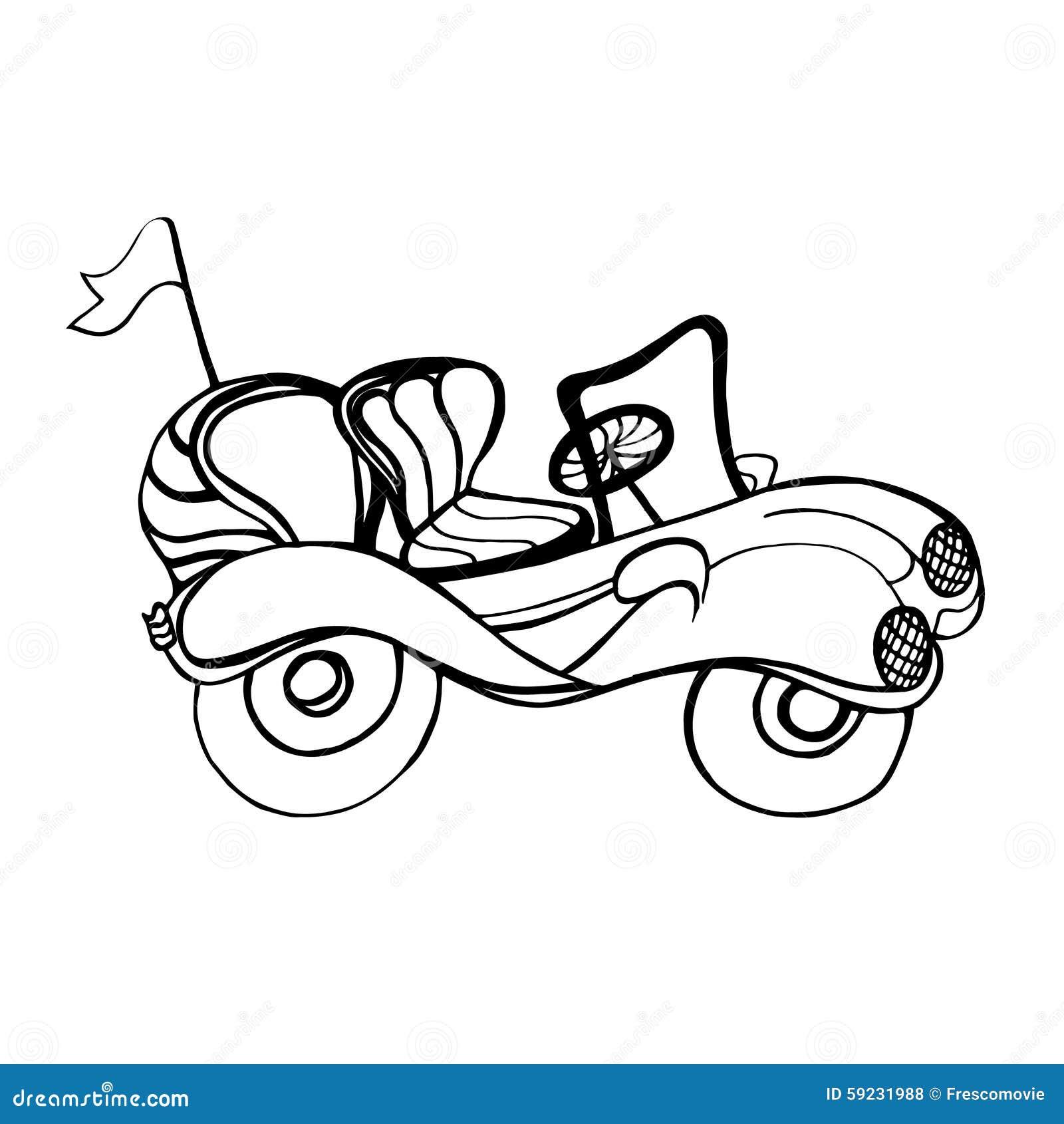 Download Descapotable del coche ilustración del vector. Ilustración de mano - 59231988