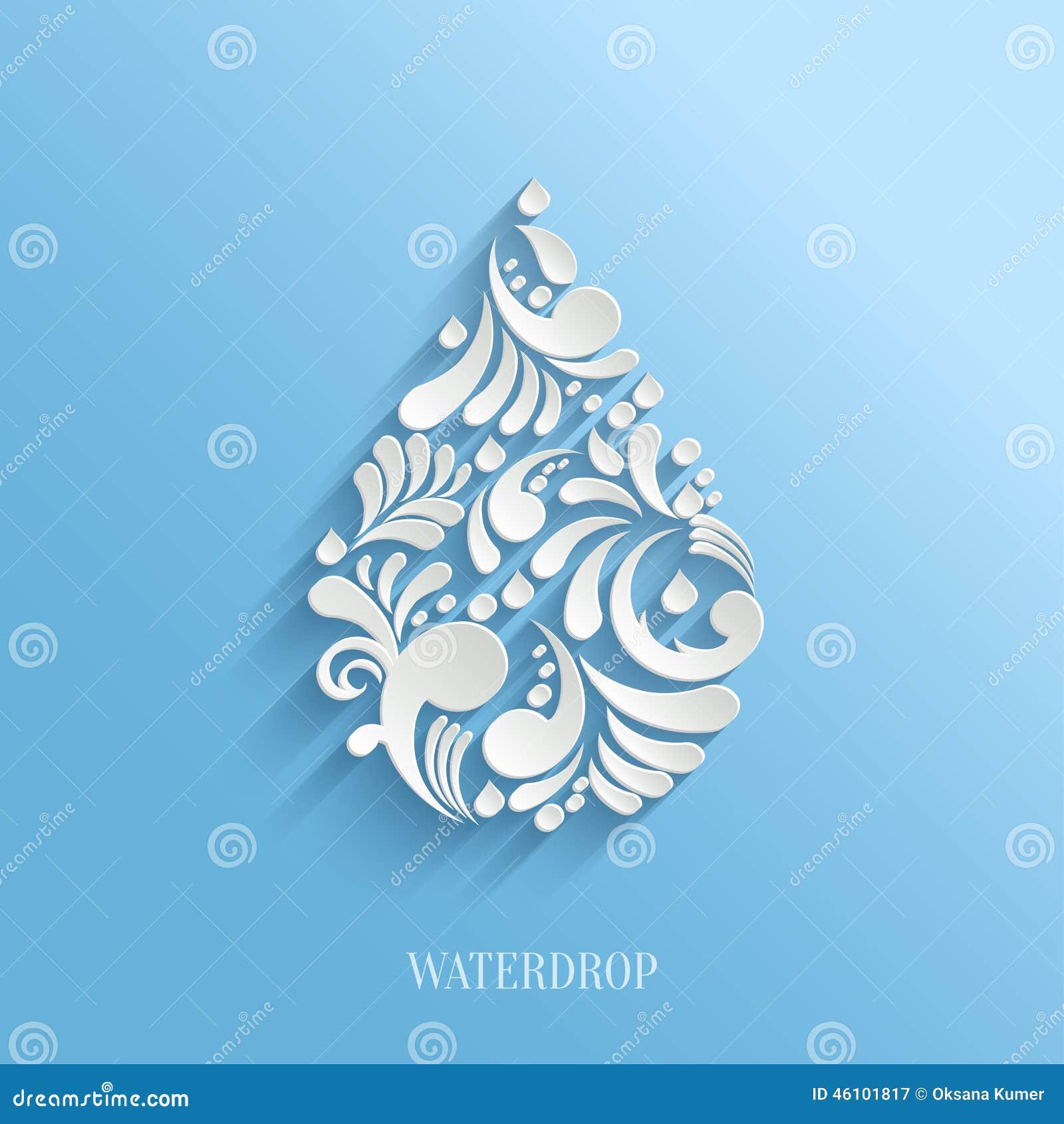 Descenso floral abstracto del agua en fondo azul