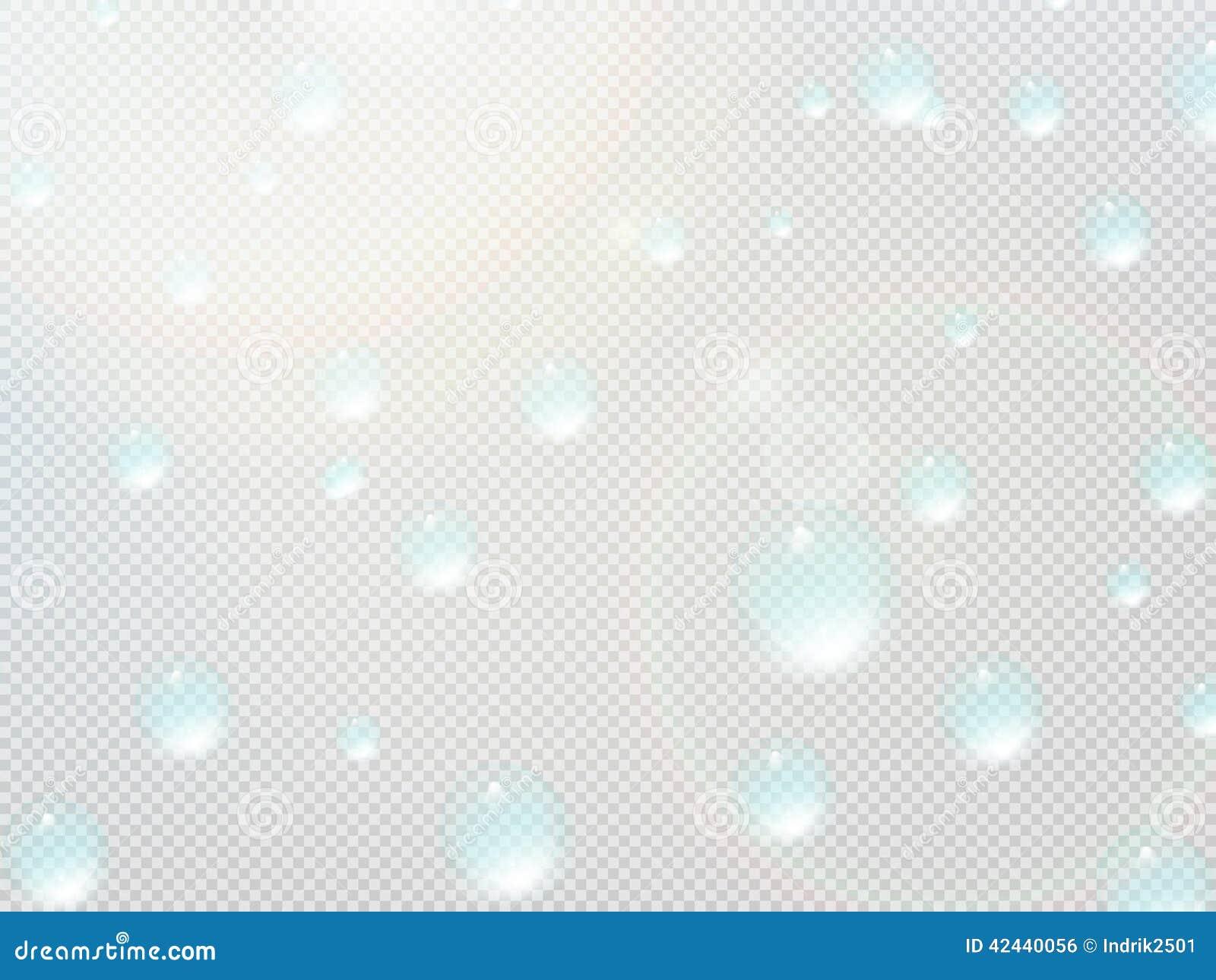 Descenso transparente del agua en rejilla gris EPS10 más
