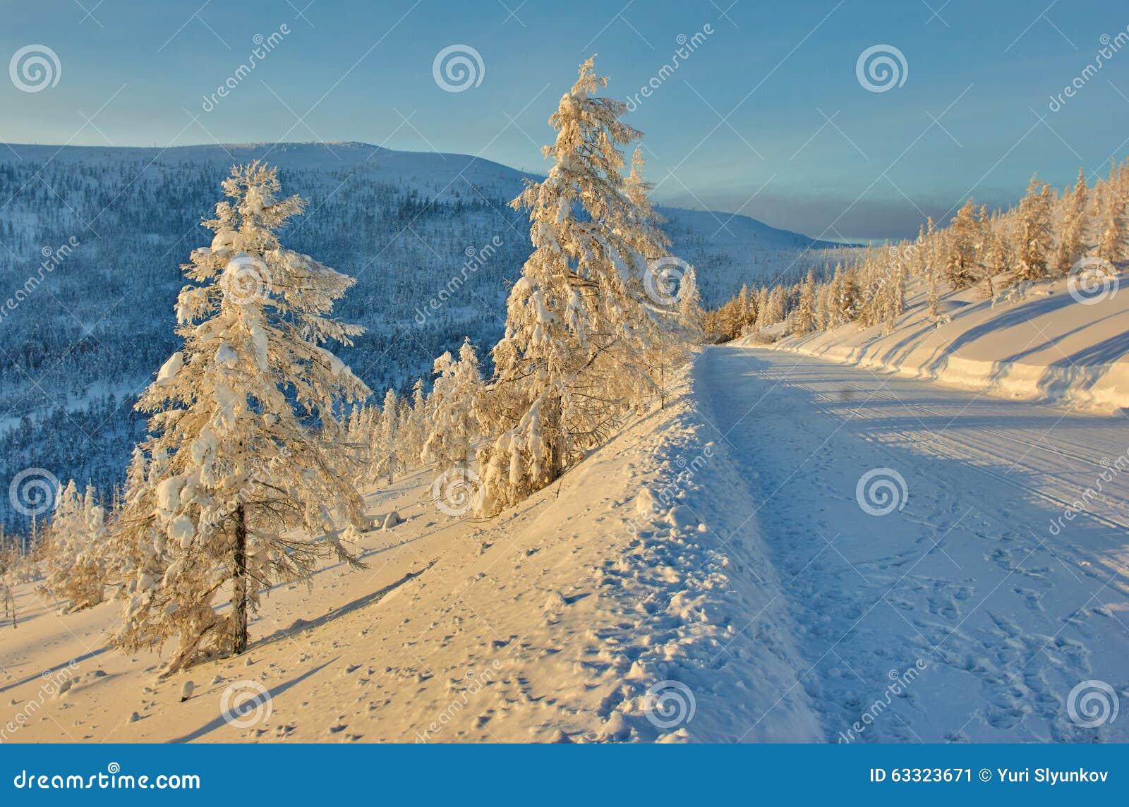 Descent from pass. Winter. A decline. Evening. Kolyma