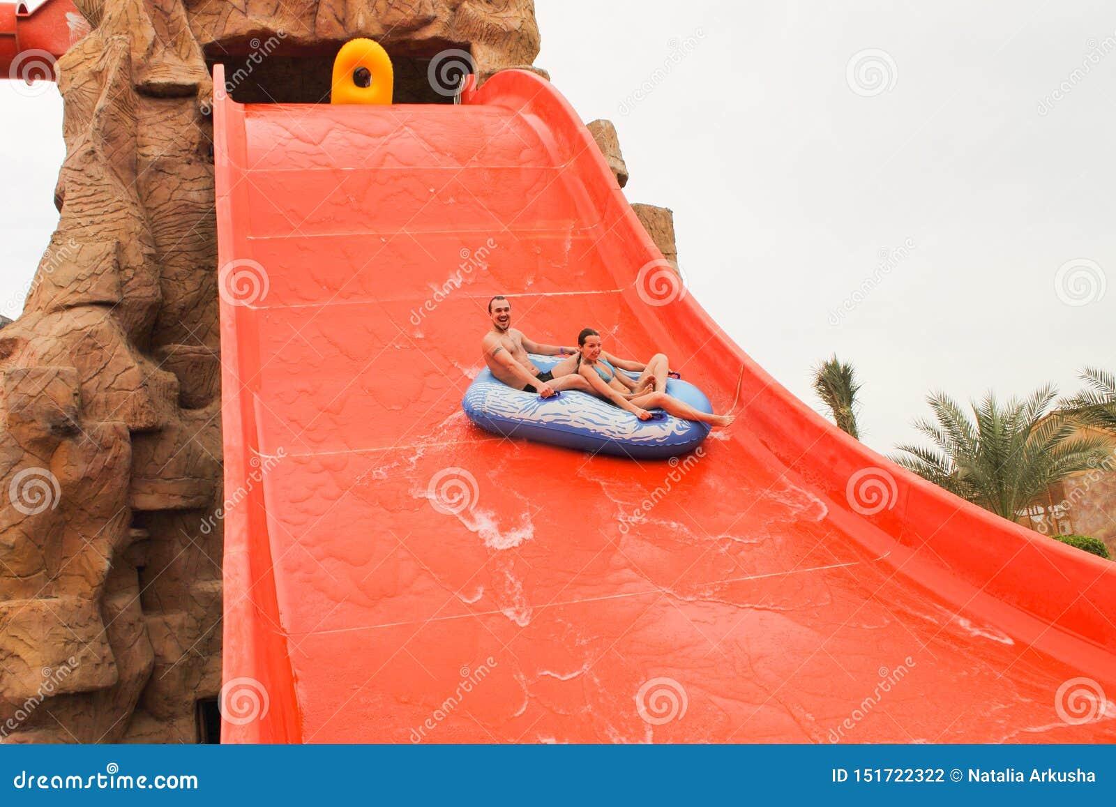 Descent on the water slide in aqua park