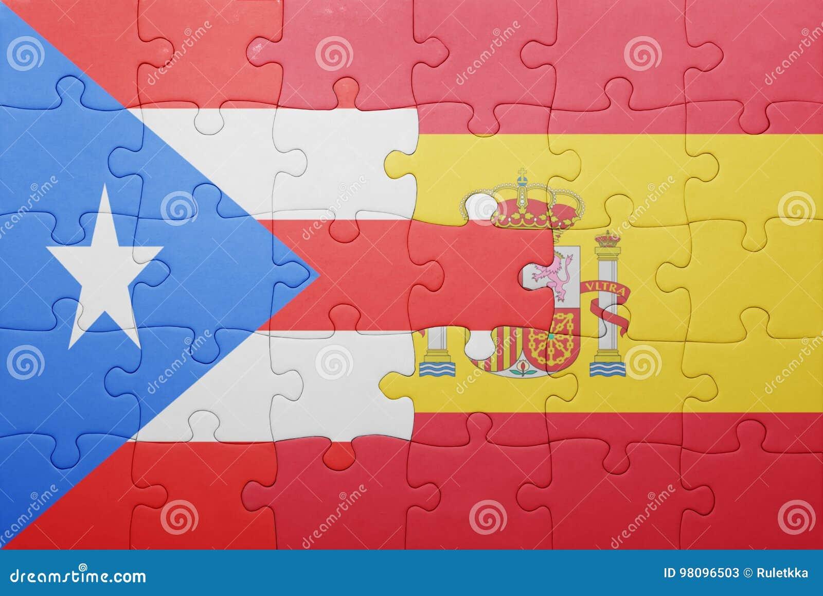 Desconcierte con la bandera nacional de España y de Puerto Rico