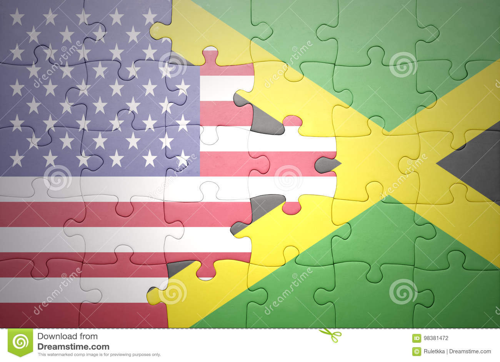 Desconcierte con las banderas nacionales de los Estados Unidos de América y de Jamaica