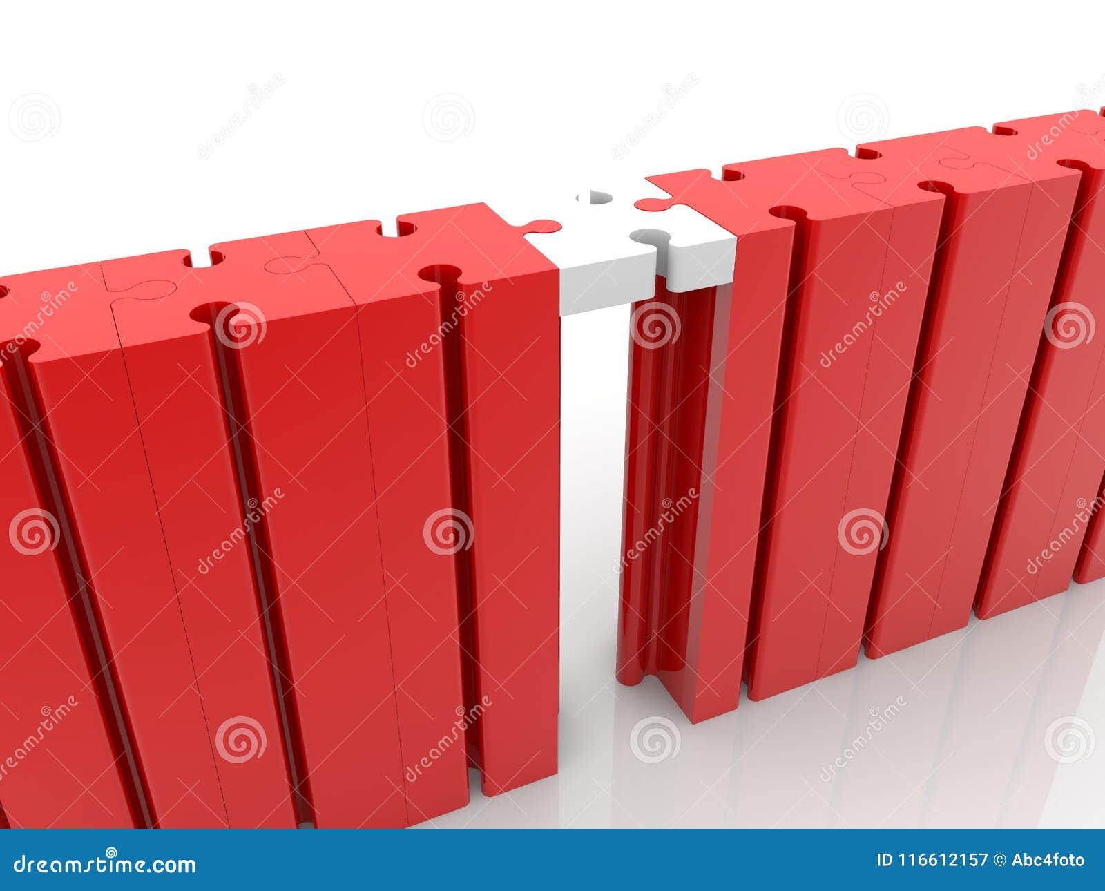 Desconcierte el concepto de la conexión de puente en rojo y blanco