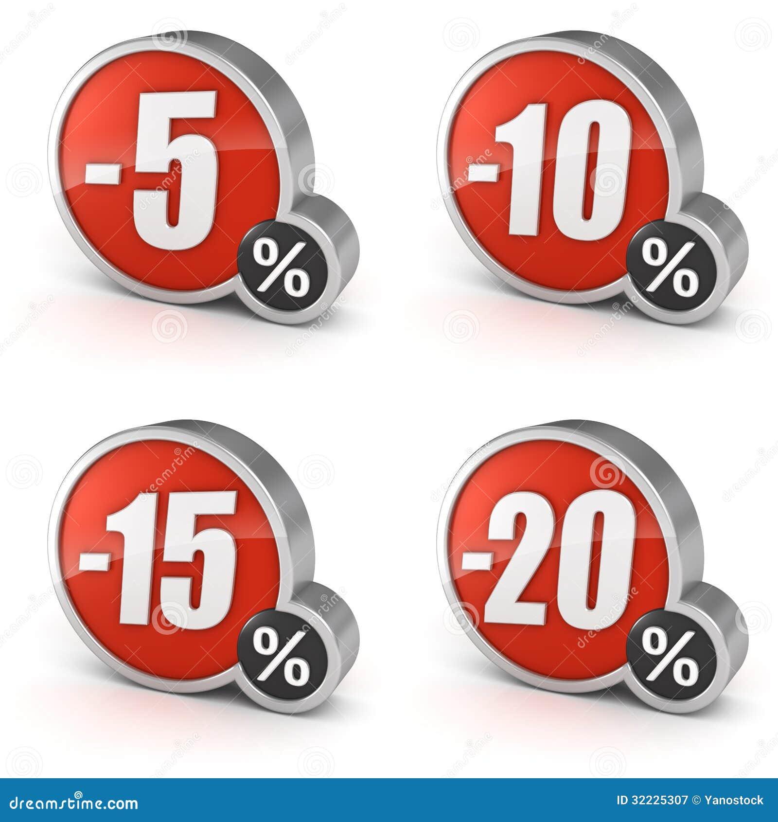 Desconte 5, 10, 15, ícone da venda 3d de 20  ajustado no fundo branco