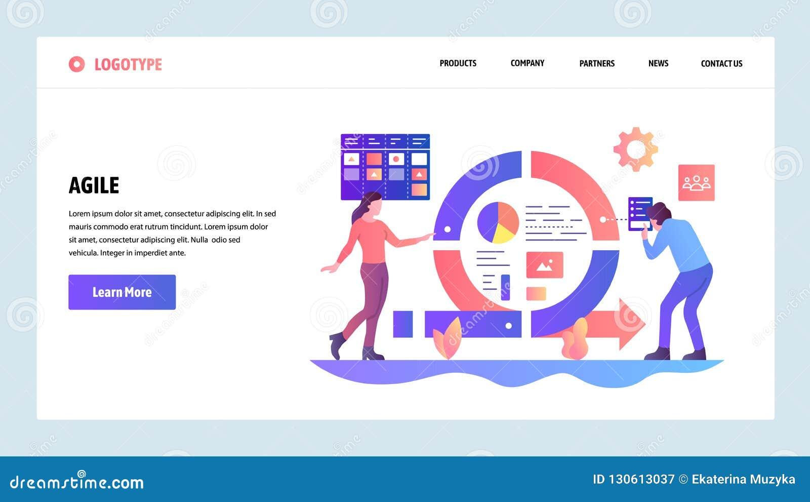 Descripteur de conception de site Web de vecteur Conseil gestion des projets et de tâche agiles de bousculade Développement de lo