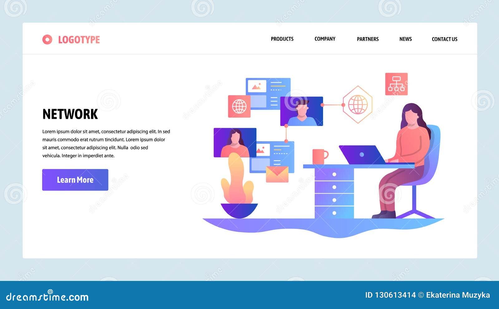 Descripteur de conception de site Web de vecteur Réseau social de médias, transmission de messages et mise en réseau en ligne Con