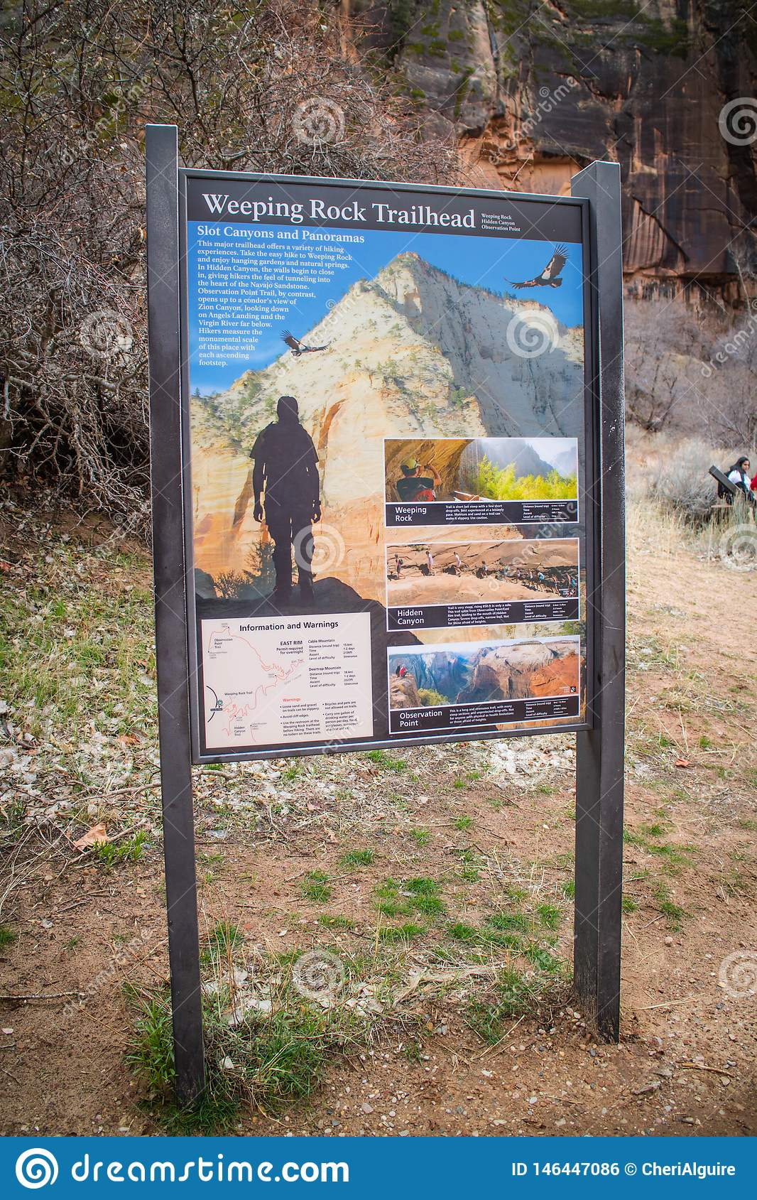 A description board for the trail in Zion National Park, Utah