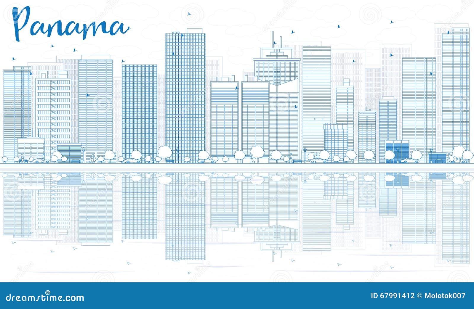 Descriva l orizzonte del Panama con le costruzioni blu e le riflessioni