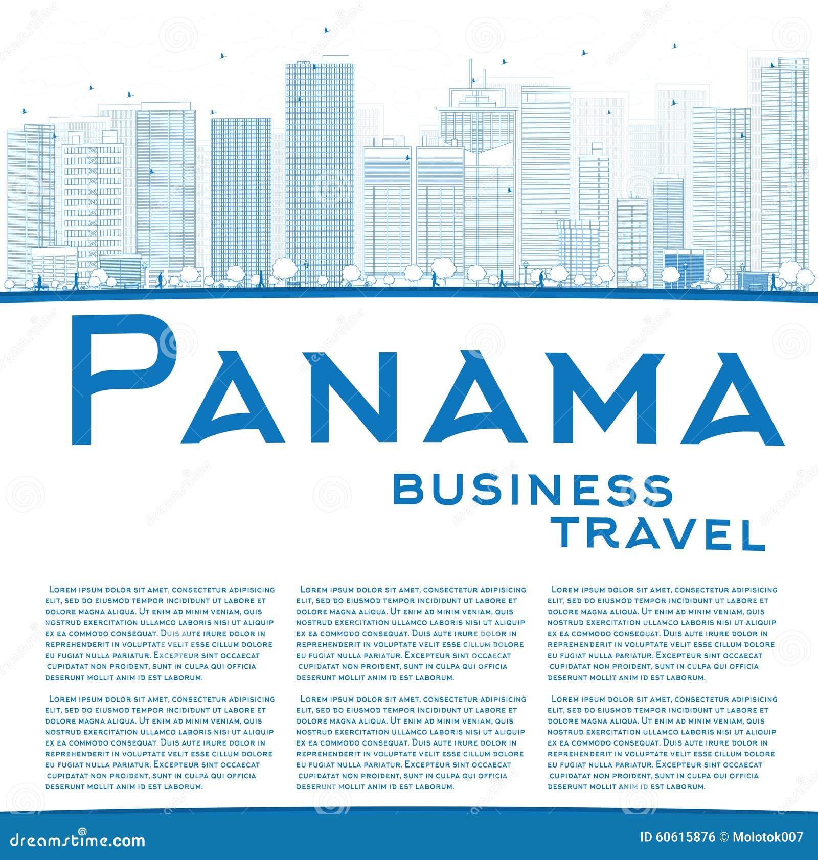 Descriva l orizzonte di Panamá con i grattacieli blu e copi lo spazio
